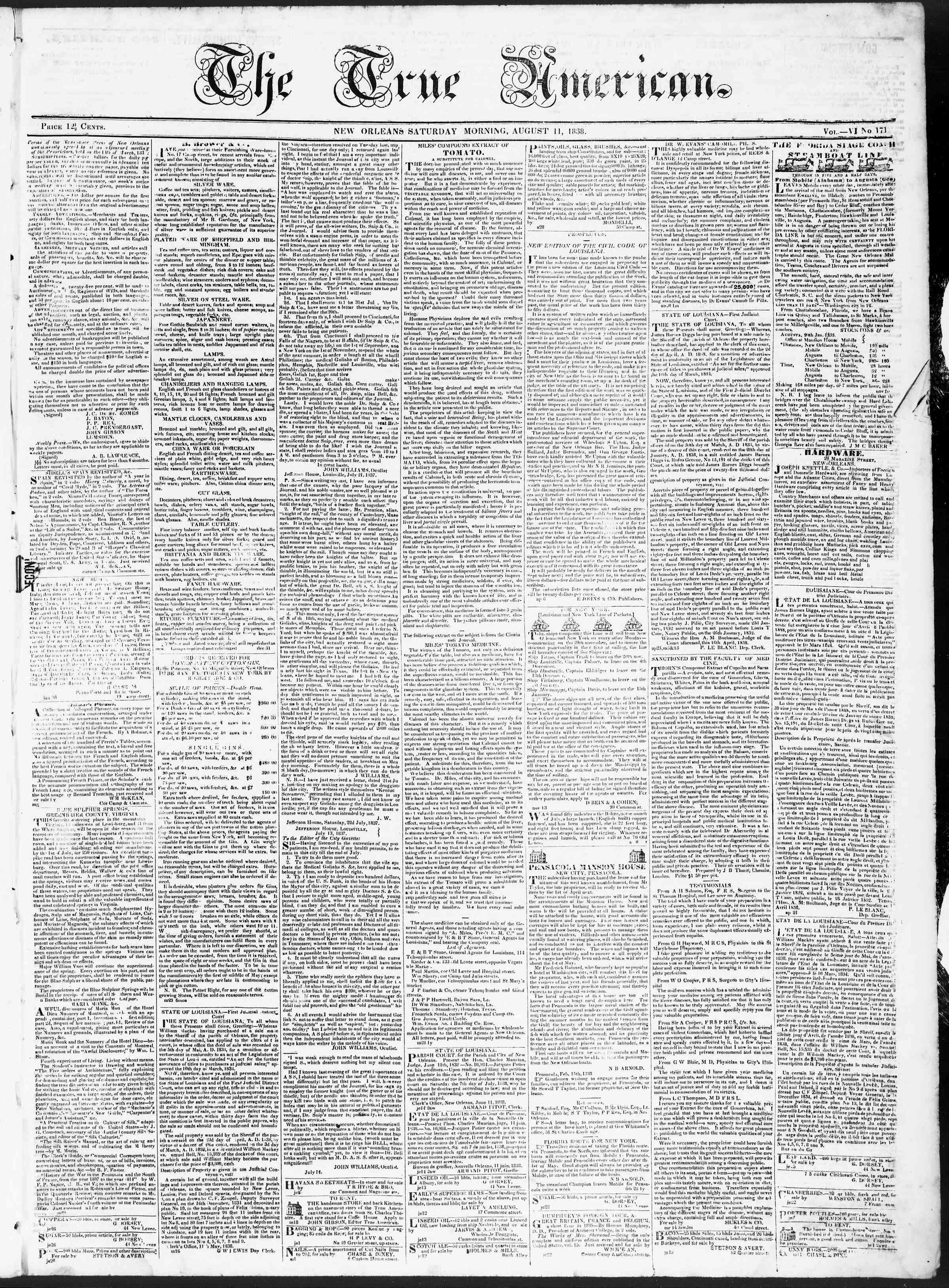 August 11, 1838 Tarihli True American Gazetesi Sayfa 1
