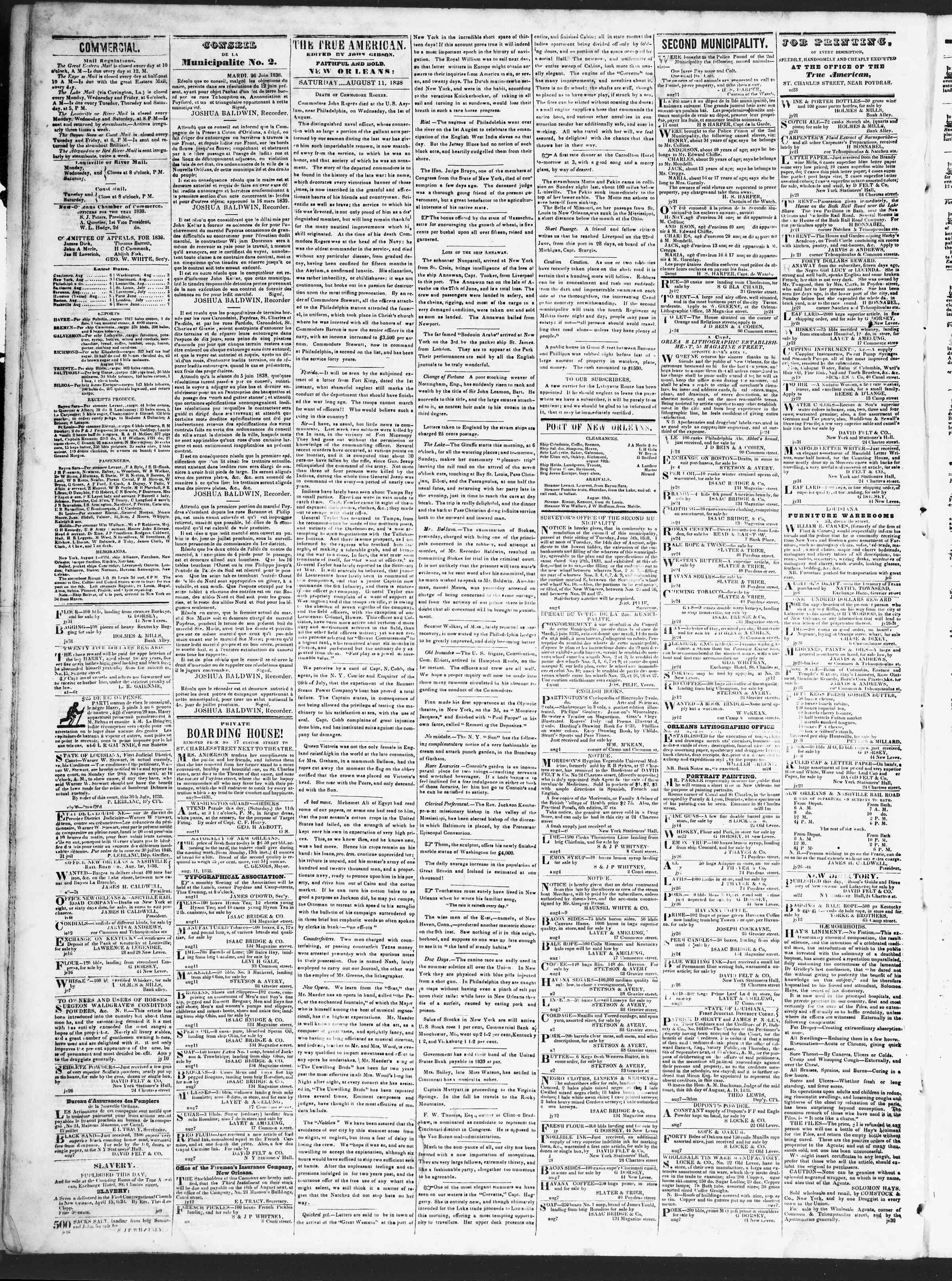 August 11, 1838 Tarihli True American Gazetesi Sayfa 2