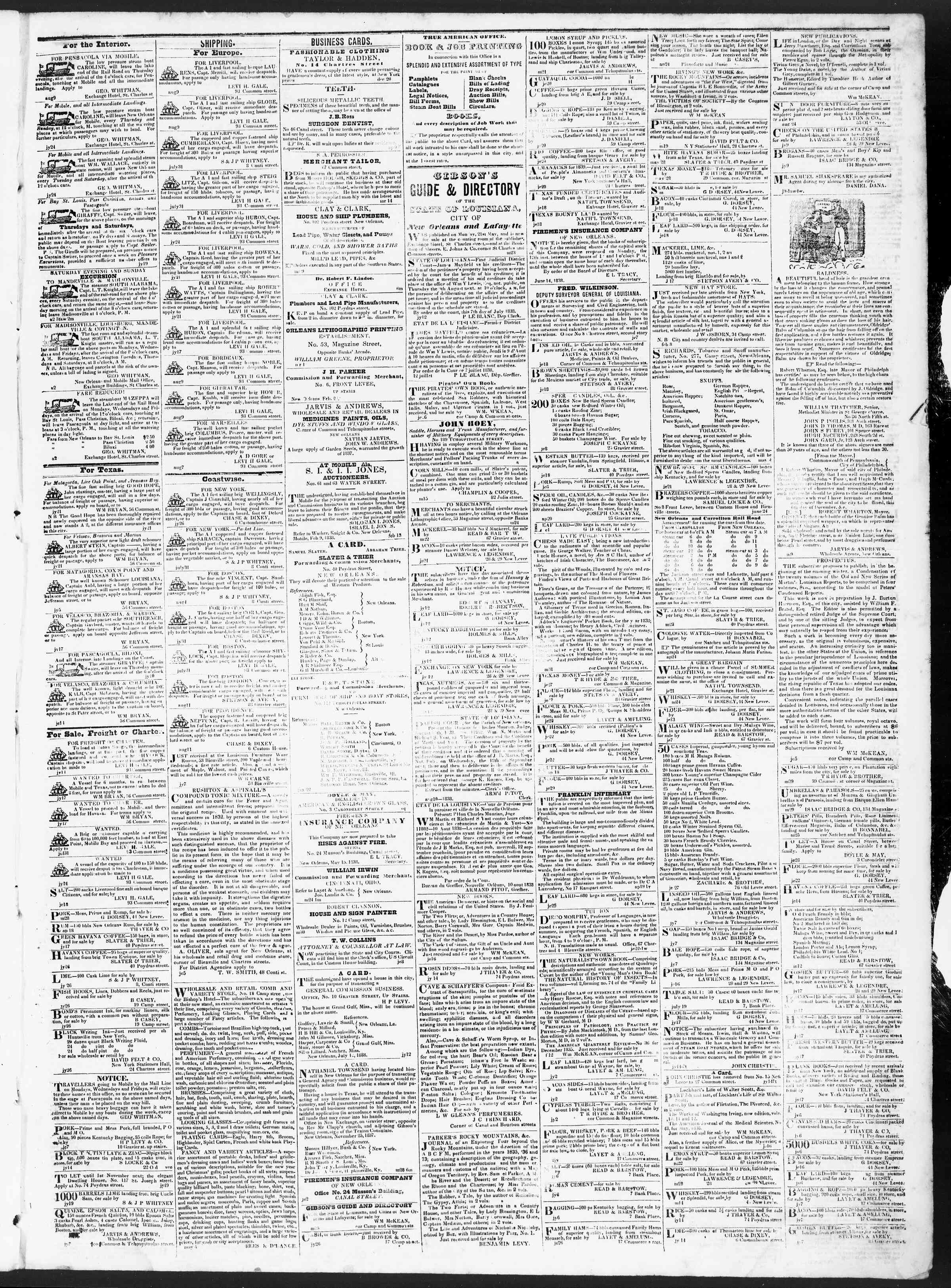Newspaper of True American dated August 11, 1838 Page 3