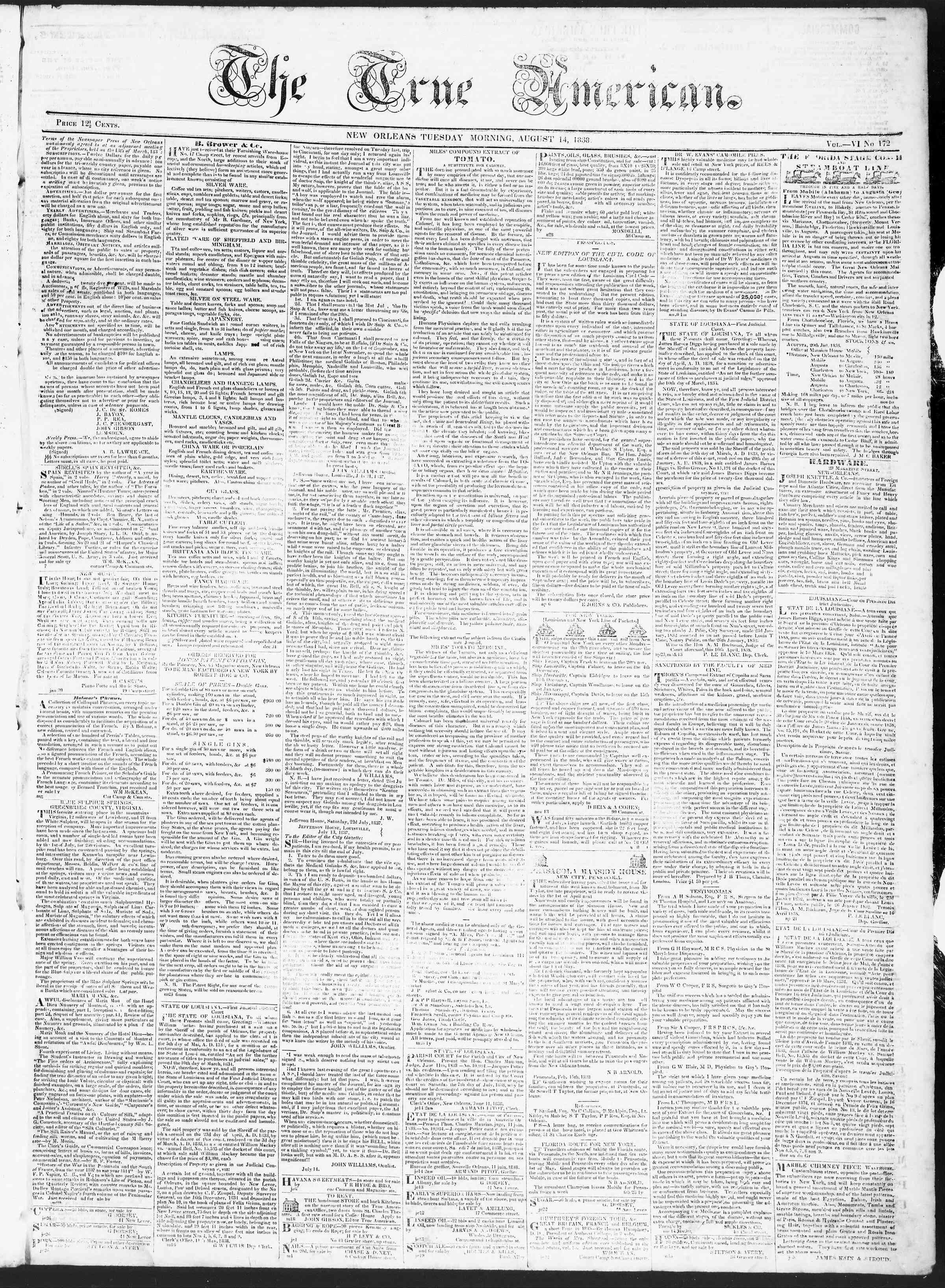 14 Ağustos 1838 tarihli True American Gazetesi Sayfa 1