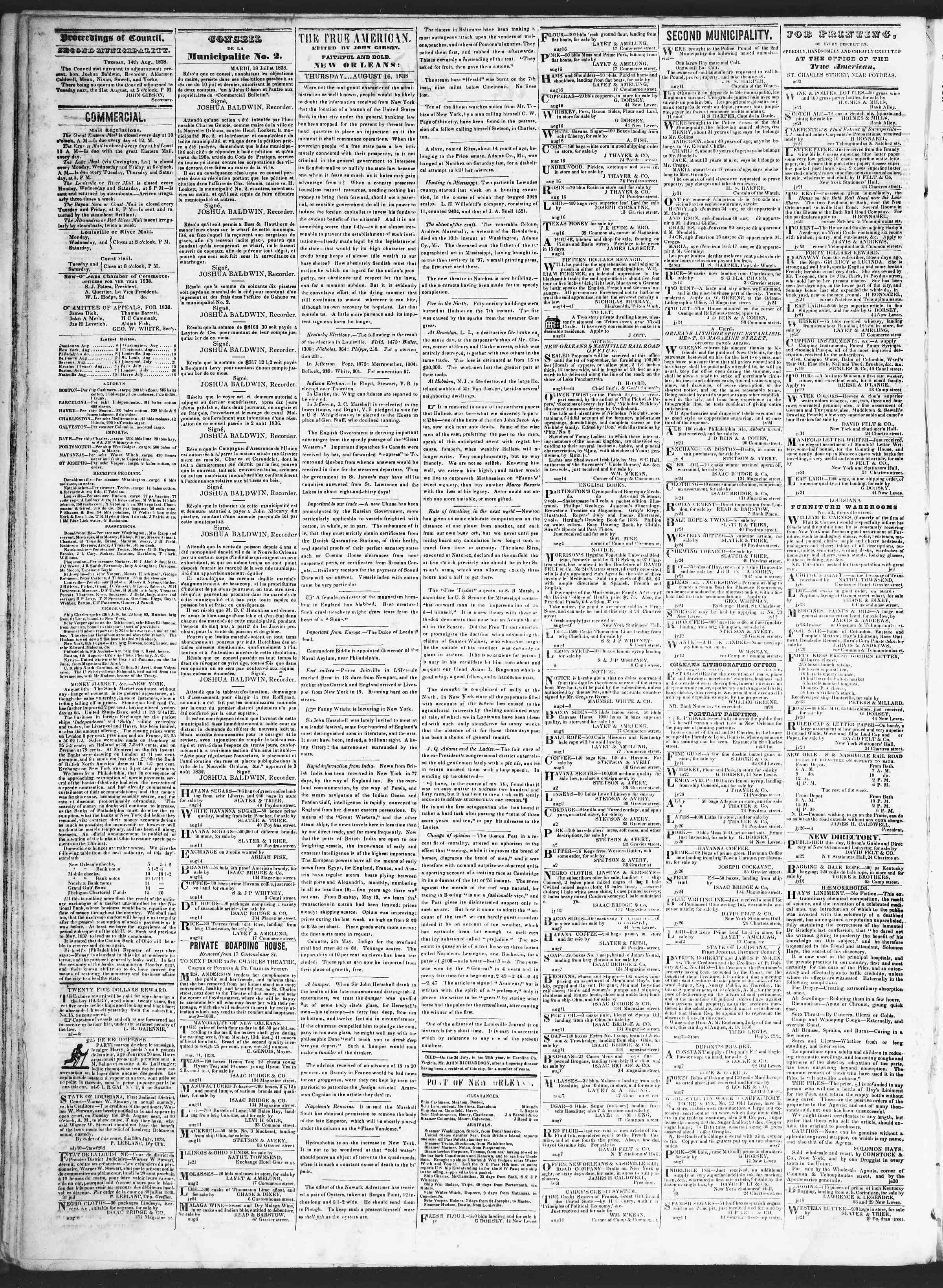 August 16, 1838 Tarihli True American Gazetesi Sayfa 2