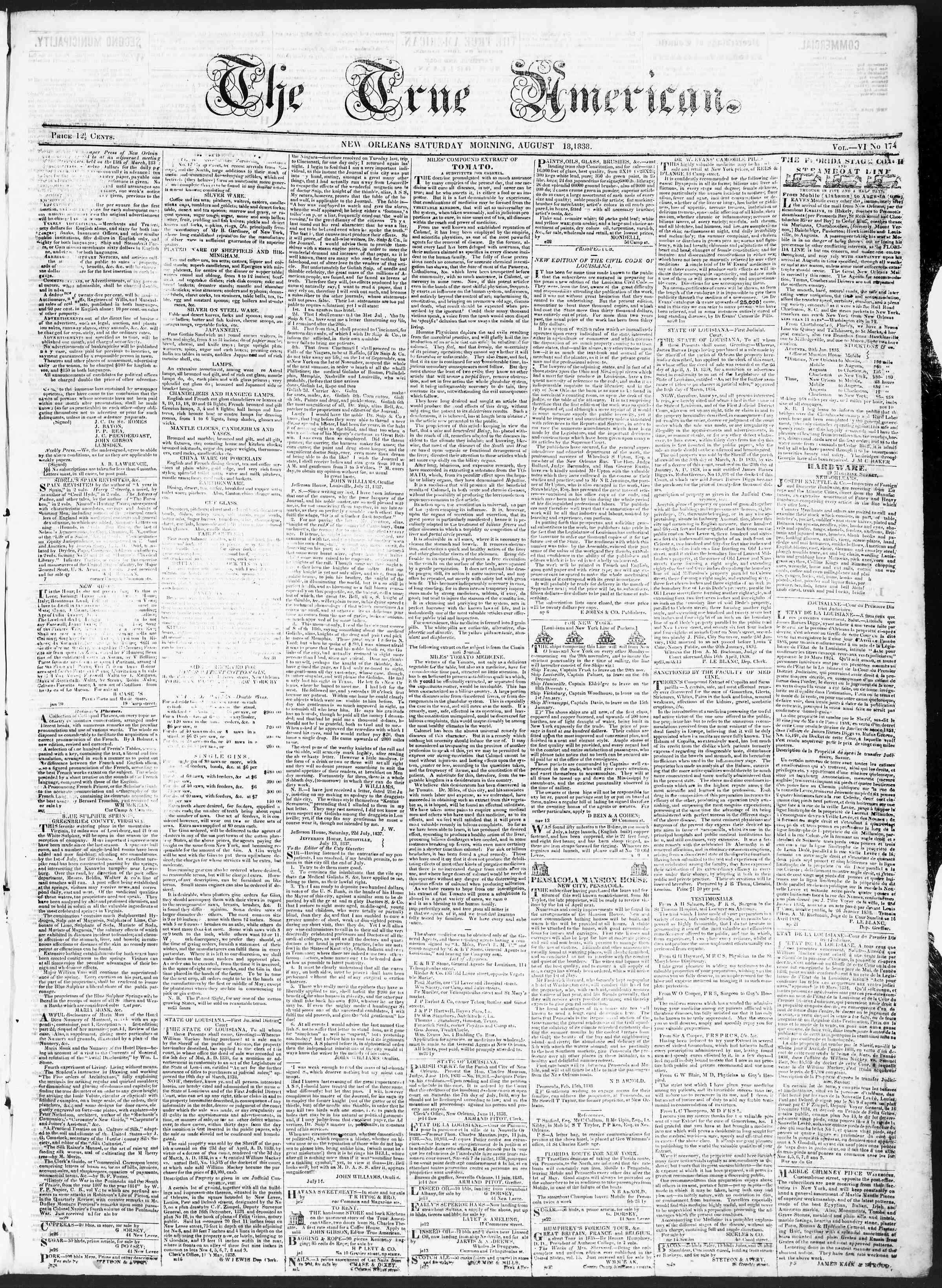 Newspaper of True American dated August 18, 1838 Page 1