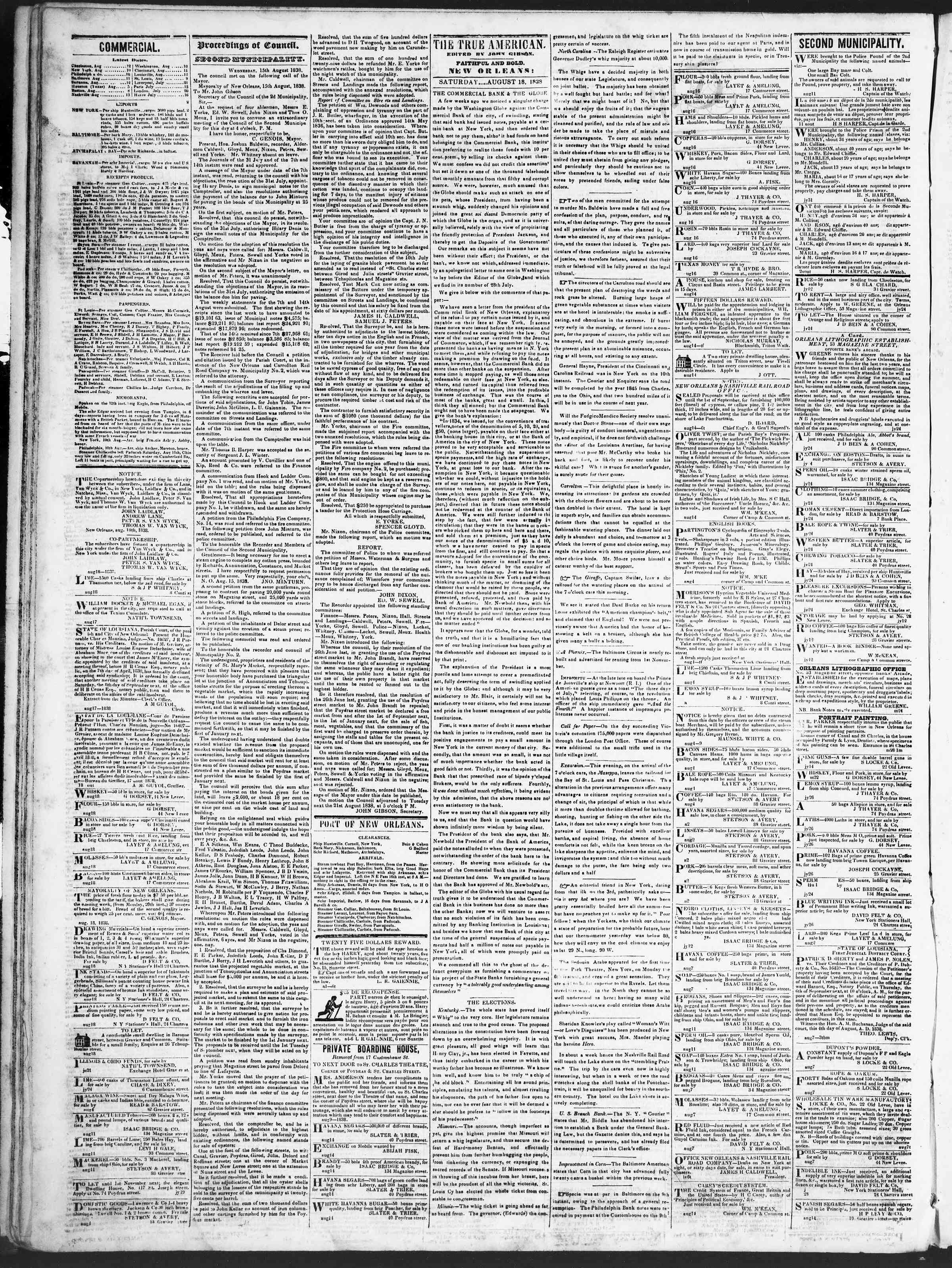 August 18, 1838 Tarihli True American Gazetesi Sayfa 2