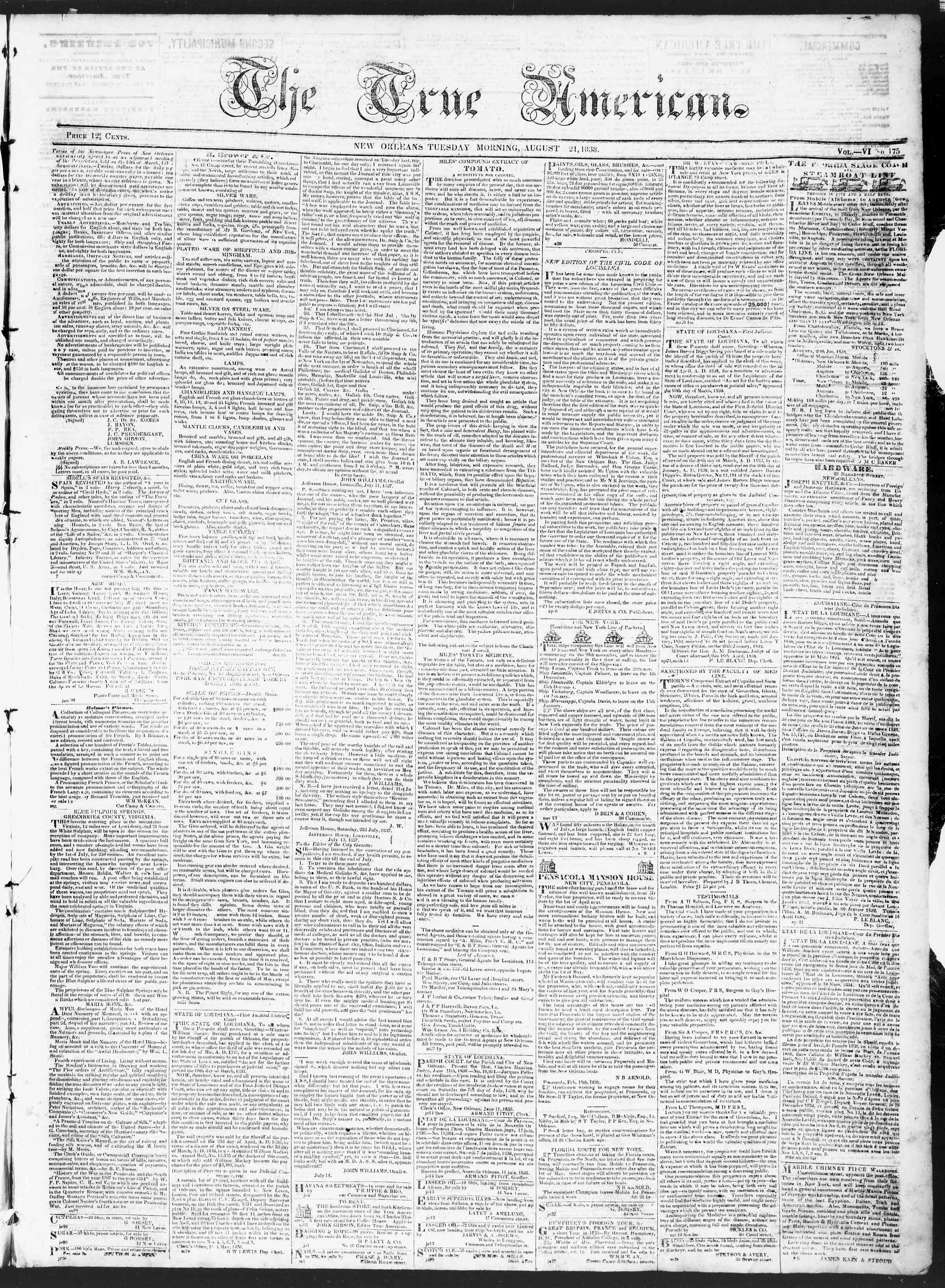 August 21, 1838 Tarihli True American Gazetesi Sayfa 1