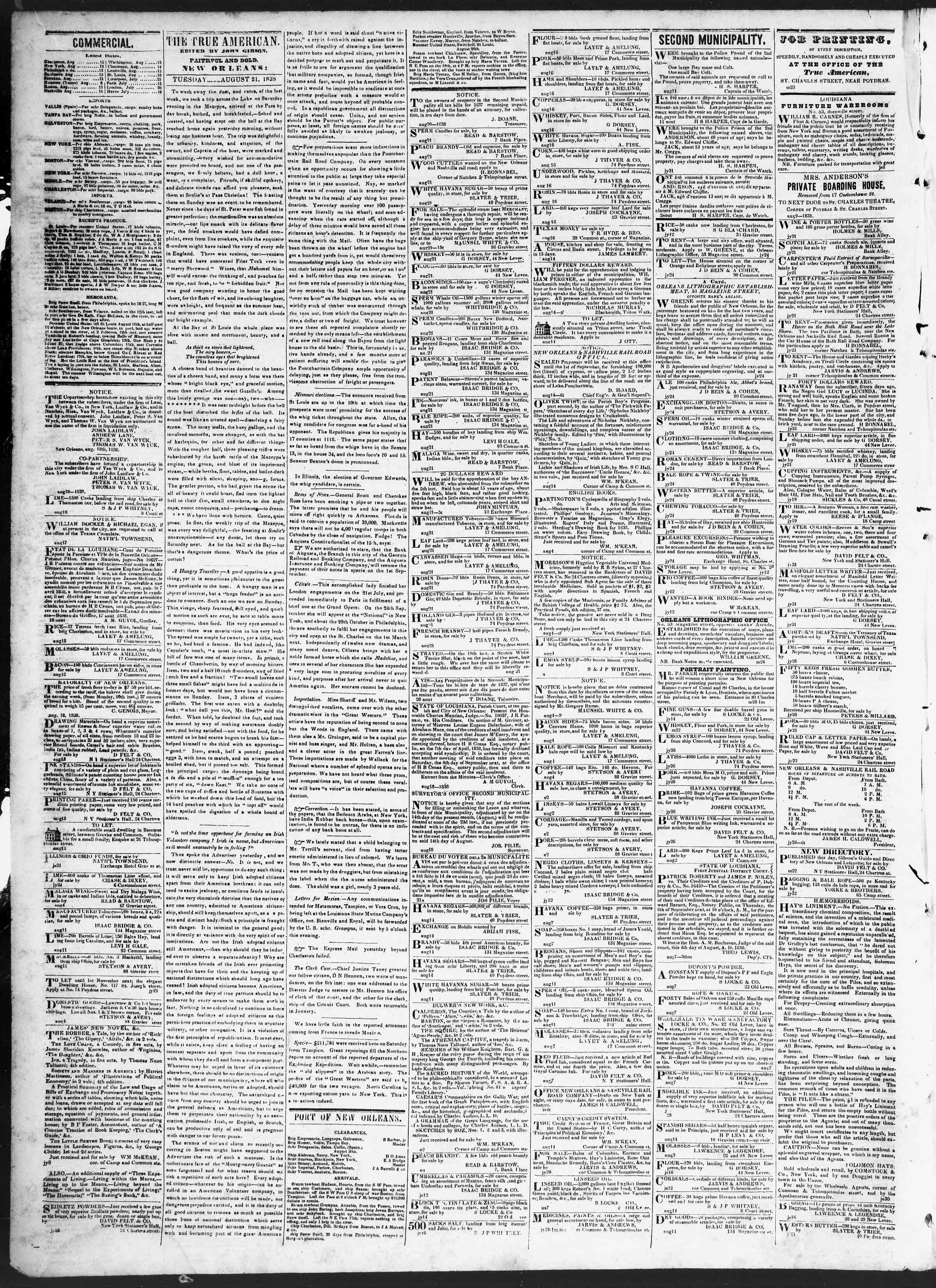 Newspaper of True American dated August 21, 1838 Page 2