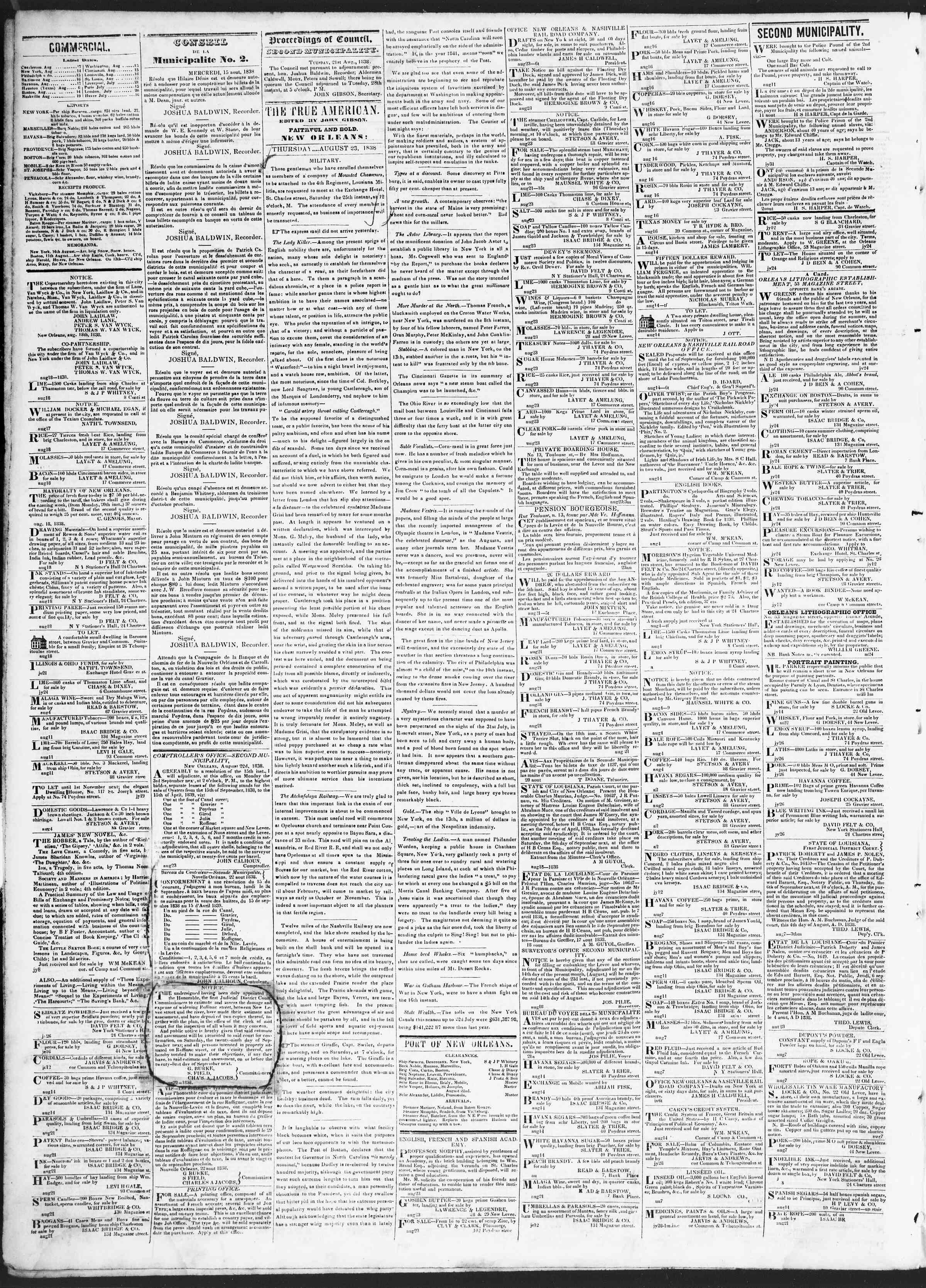 August 23, 1838 Tarihli True American Gazetesi Sayfa 2