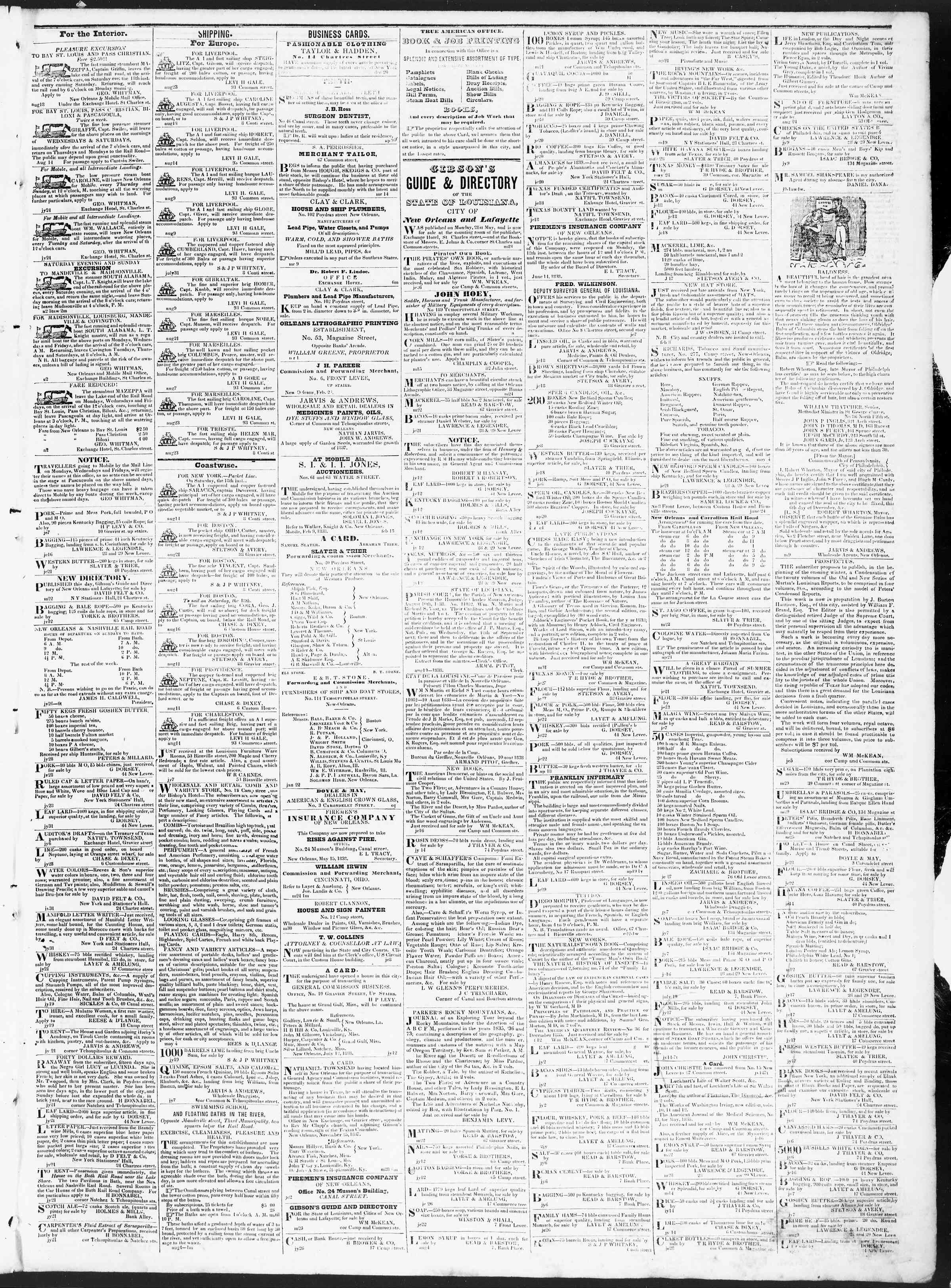 Newspaper of True American dated August 23, 1838 Page 3