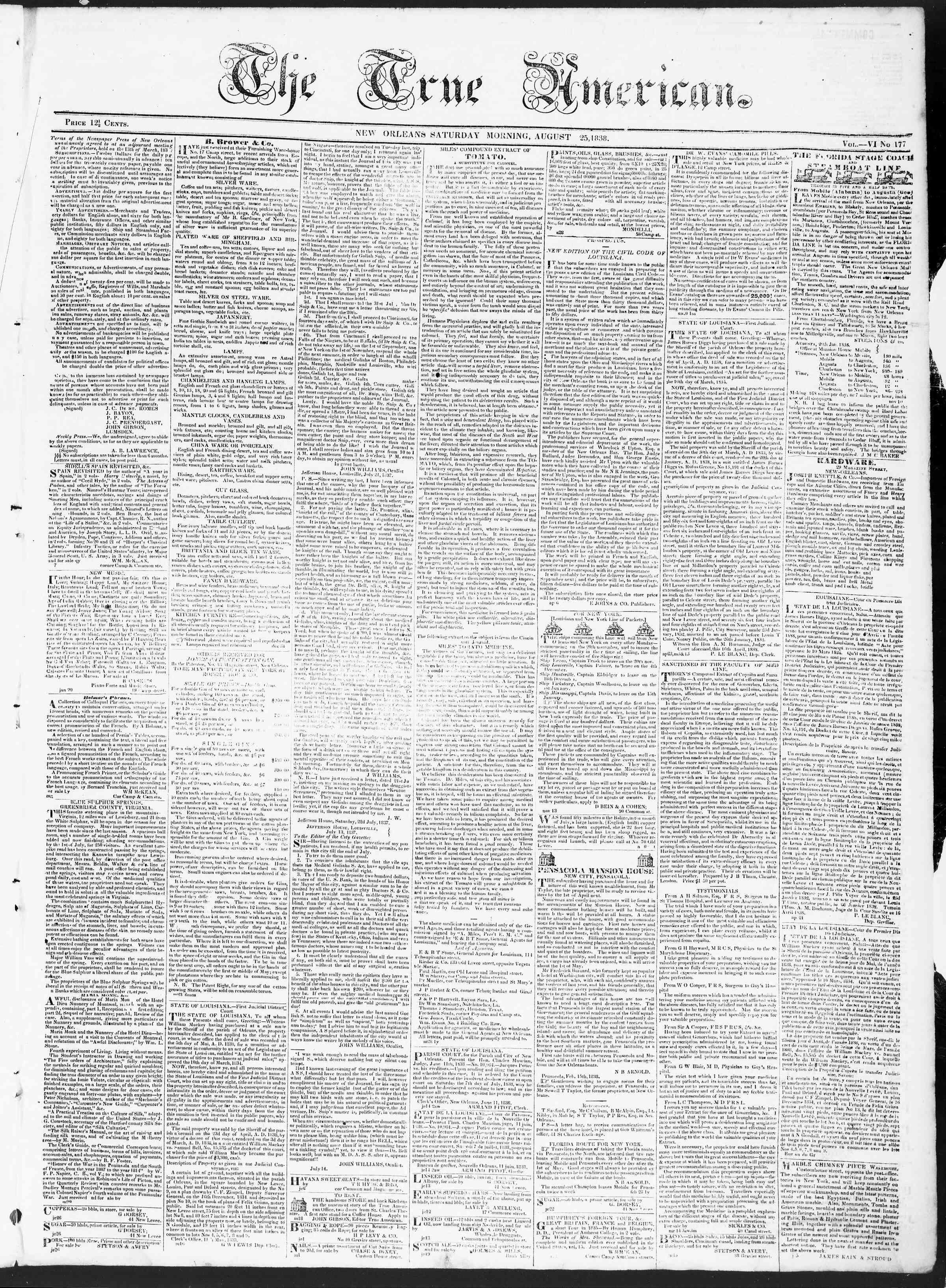 August 25, 1838 Tarihli True American Gazetesi Sayfa 1