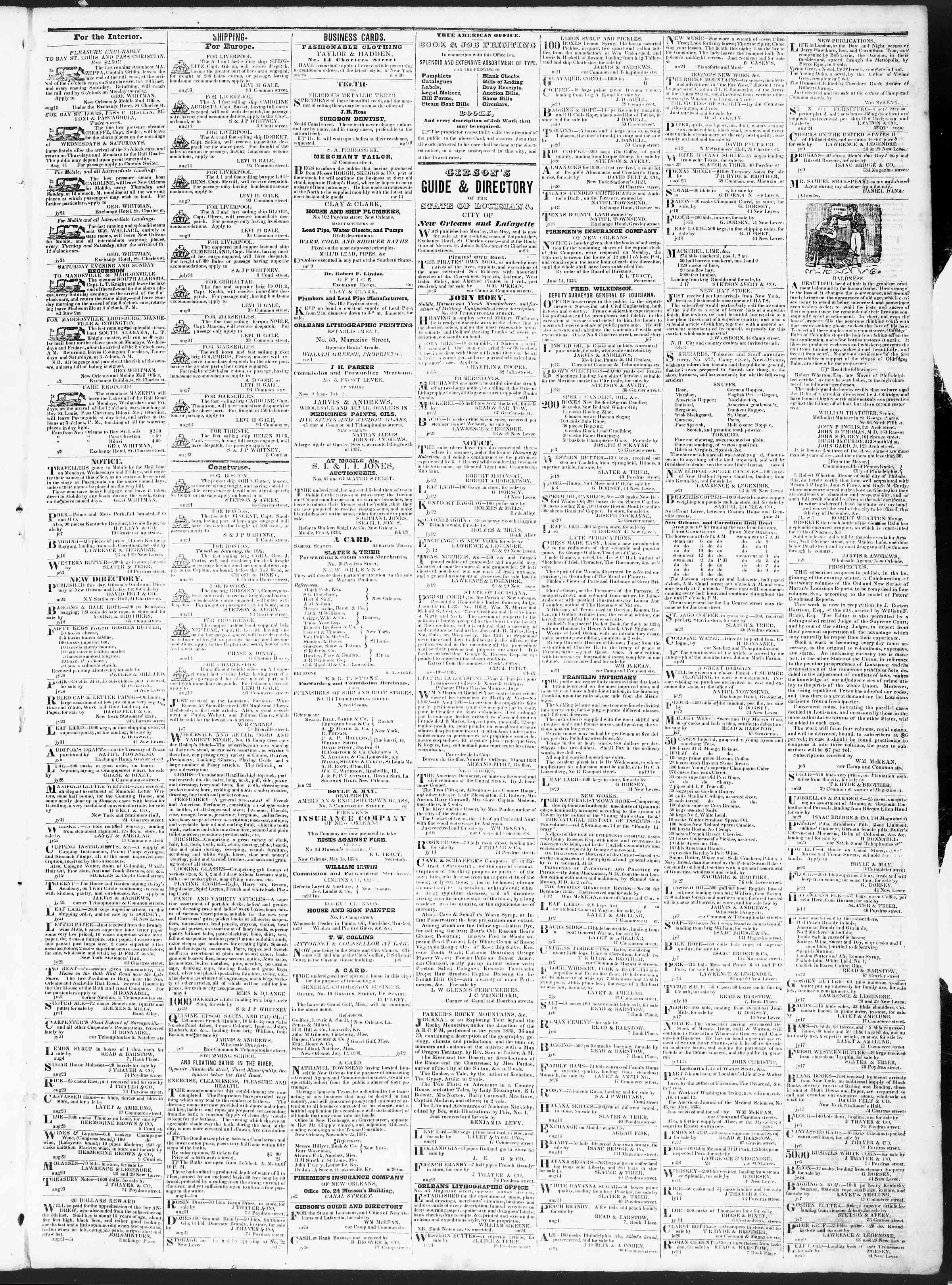 Newspaper of True American dated August 25, 1838 Page 3