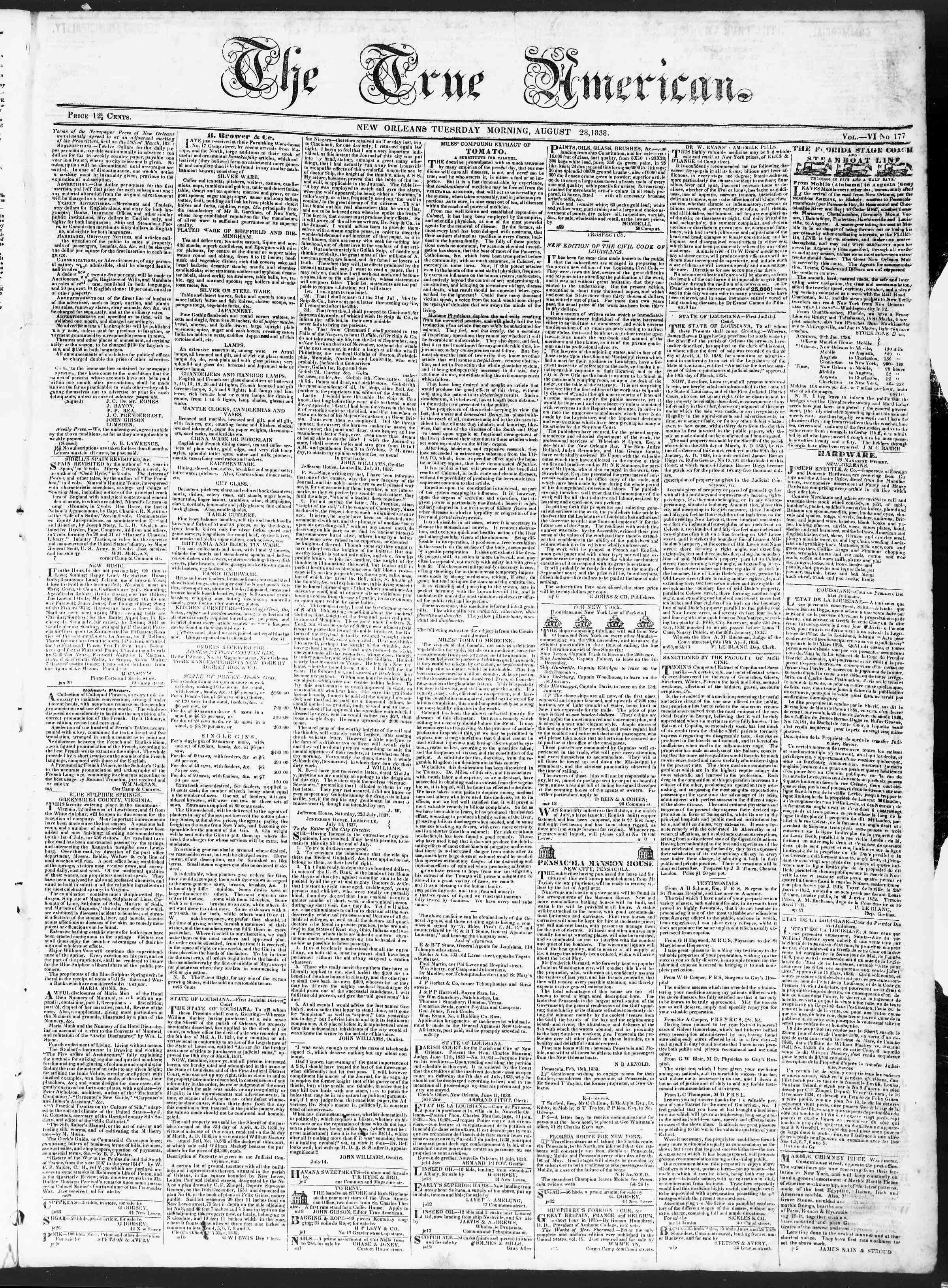 August 28, 1838 Tarihli True American Gazetesi Sayfa 1