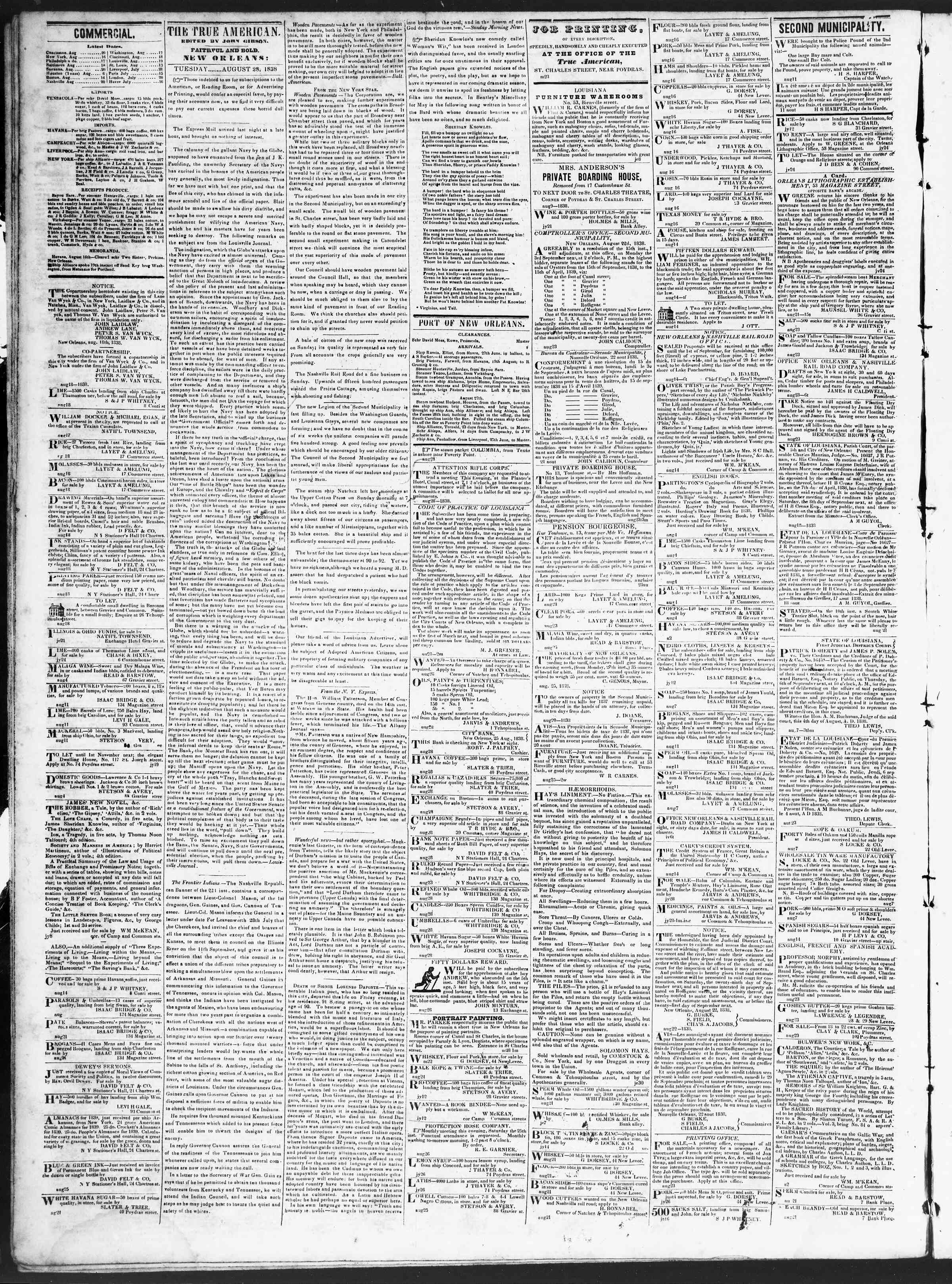 Newspaper of True American dated August 28, 1838 Page 2
