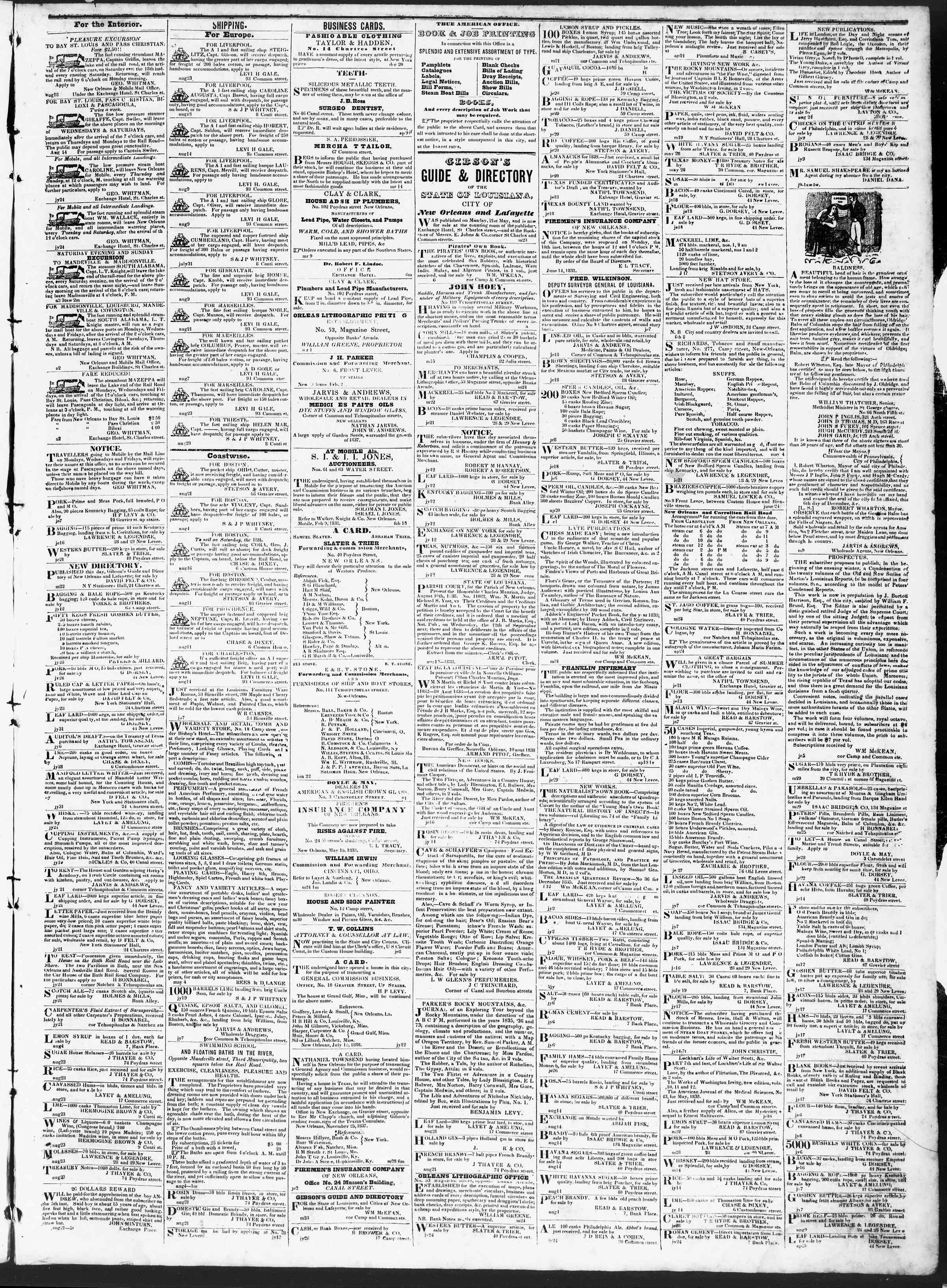 Newspaper of True American dated August 28, 1838 Page 3