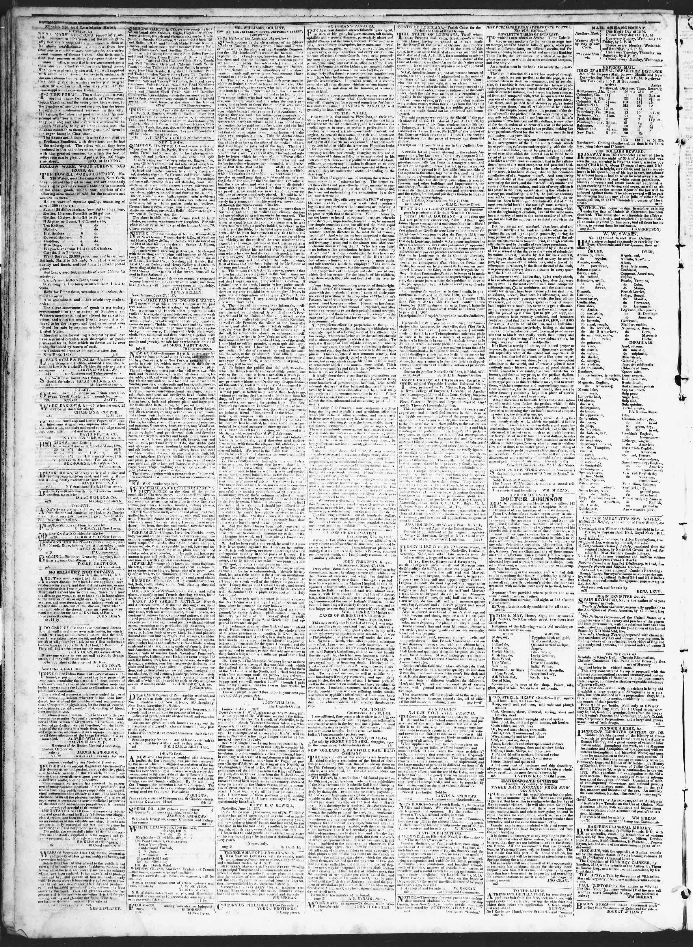 August 28, 1838 Tarihli True American Gazetesi Sayfa 4