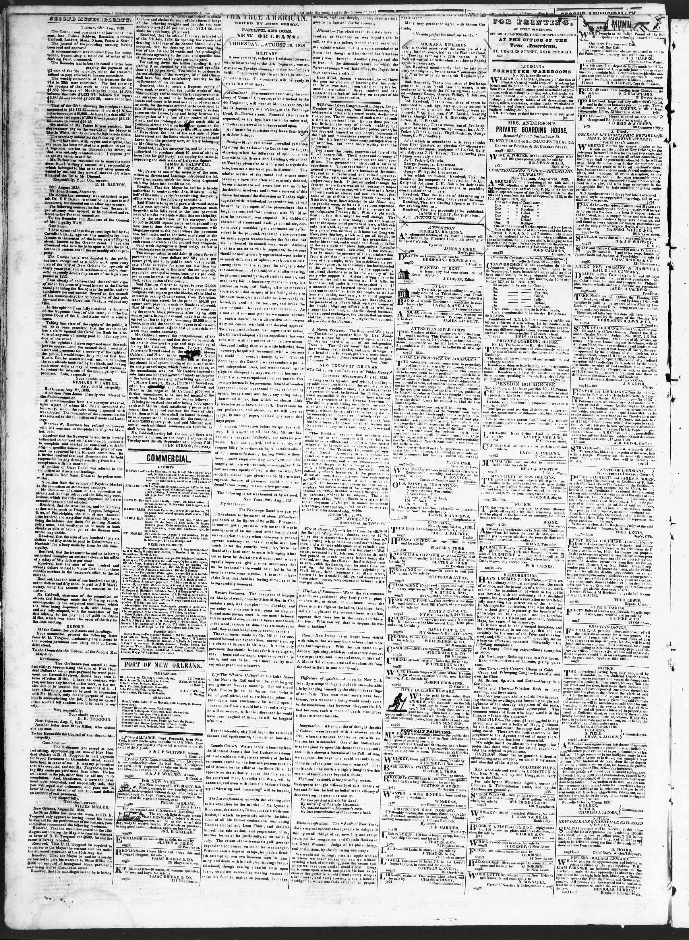 Newspaper of True American dated August 30, 1838 Page 2