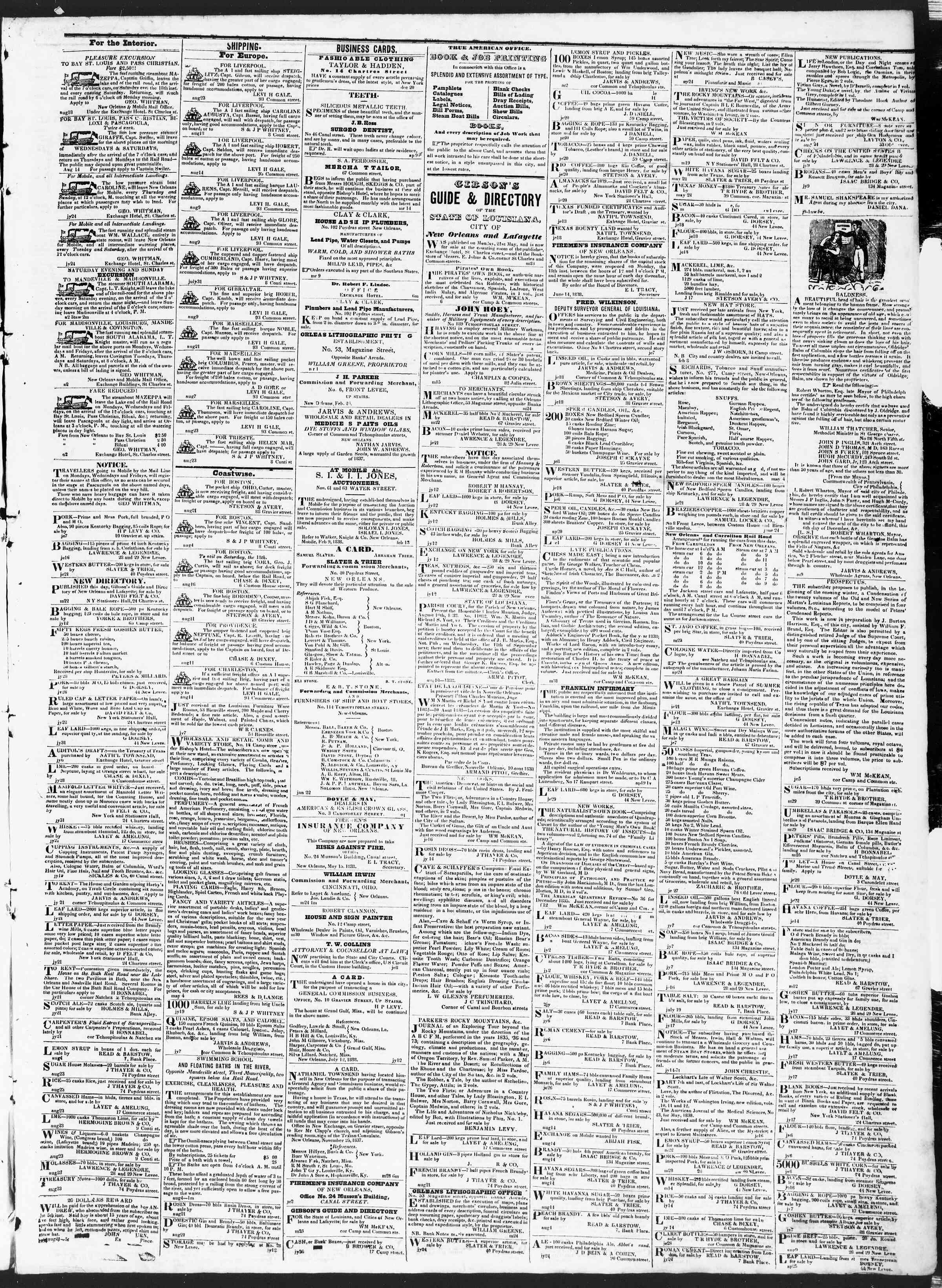 August 30, 1838 Tarihli True American Gazetesi Sayfa 3