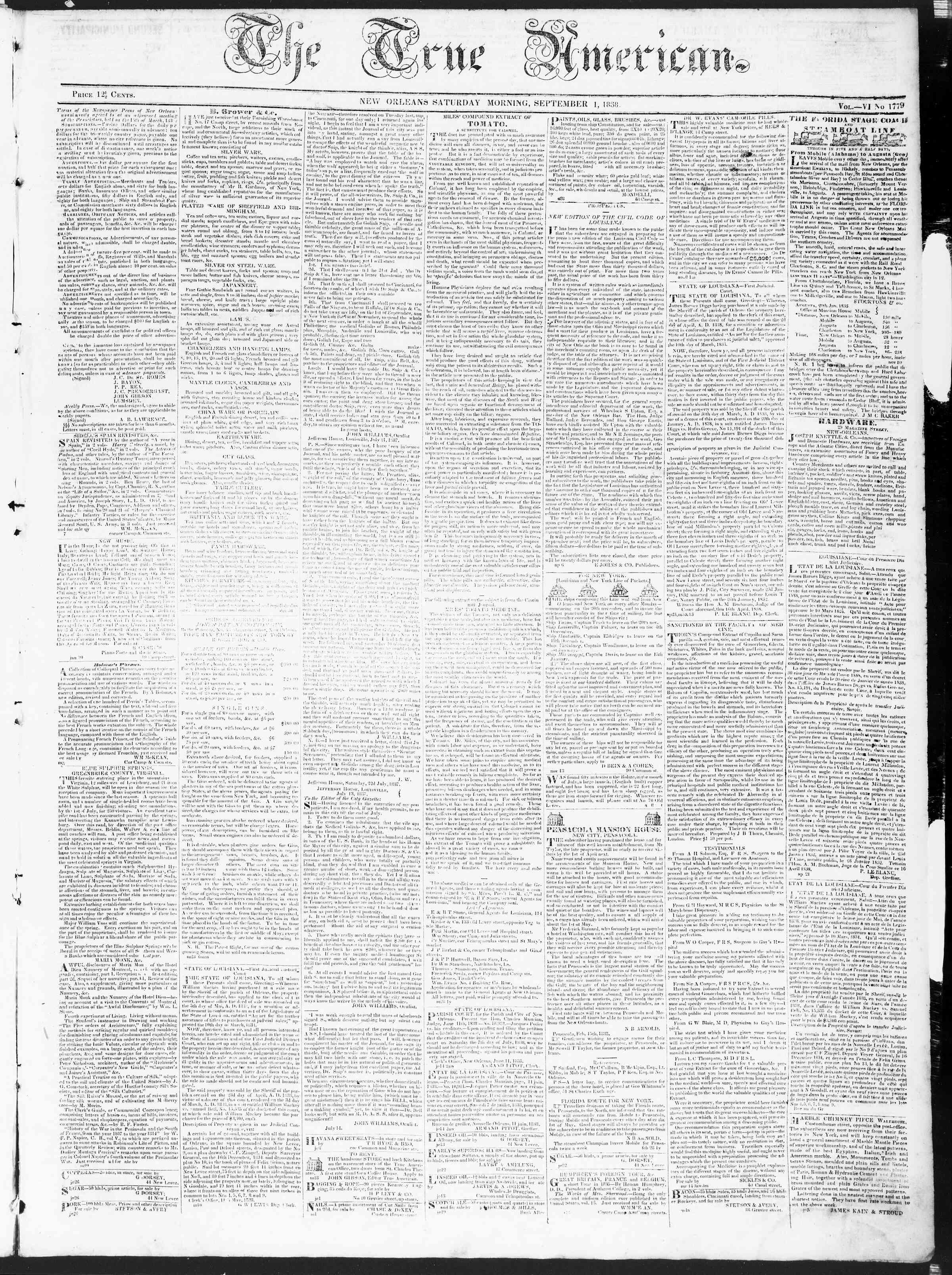 September 1, 1838 Tarihli True American Gazetesi Sayfa 1