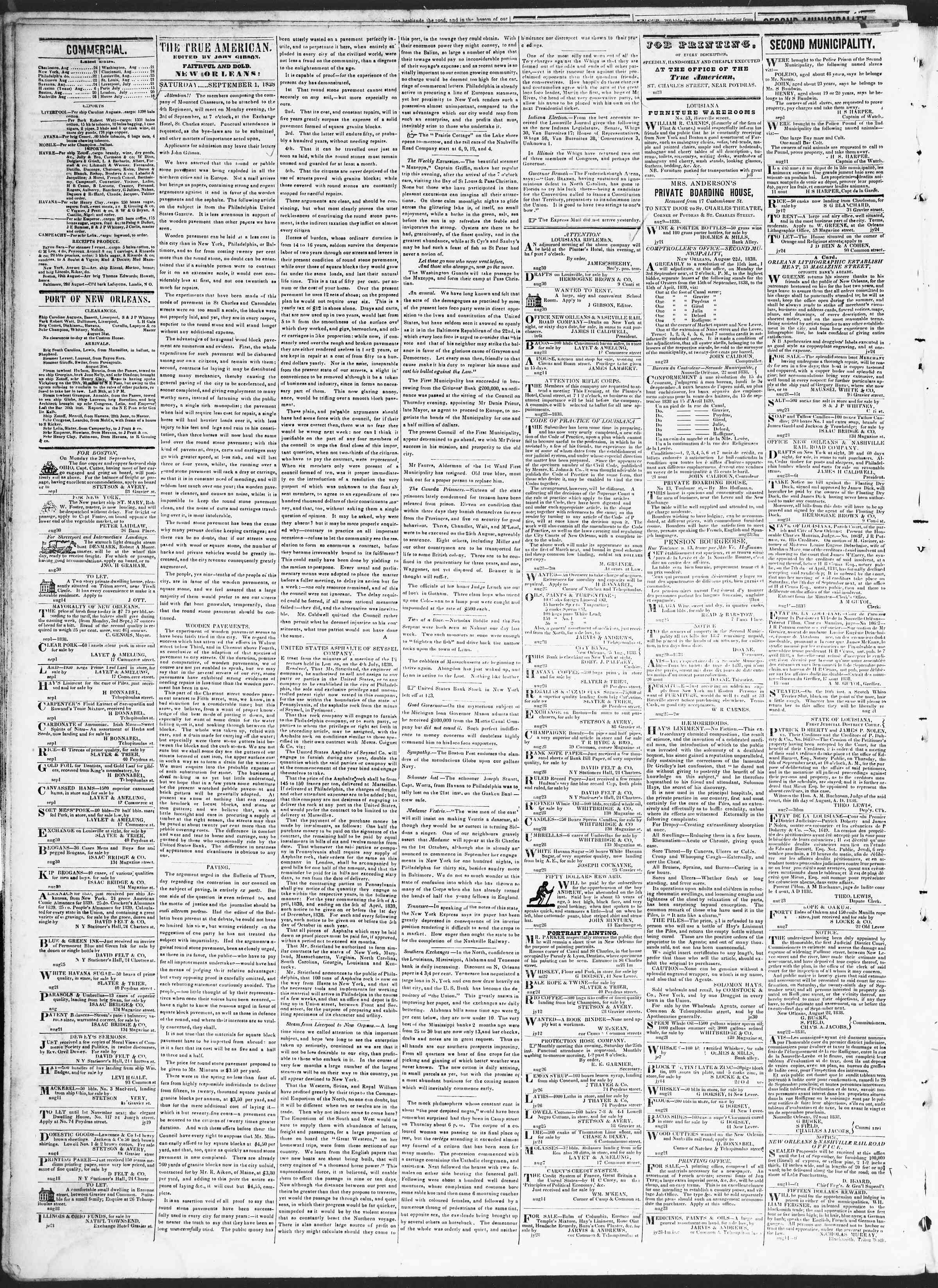 September 1, 1838 Tarihli True American Gazetesi Sayfa 2