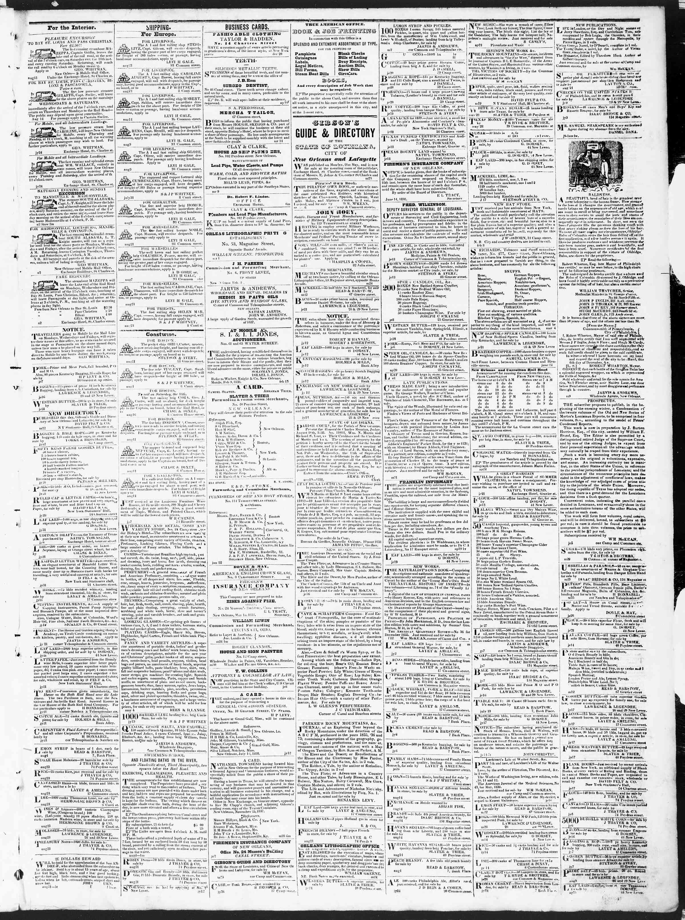 Newspaper of True American dated September 1, 1838 Page 3