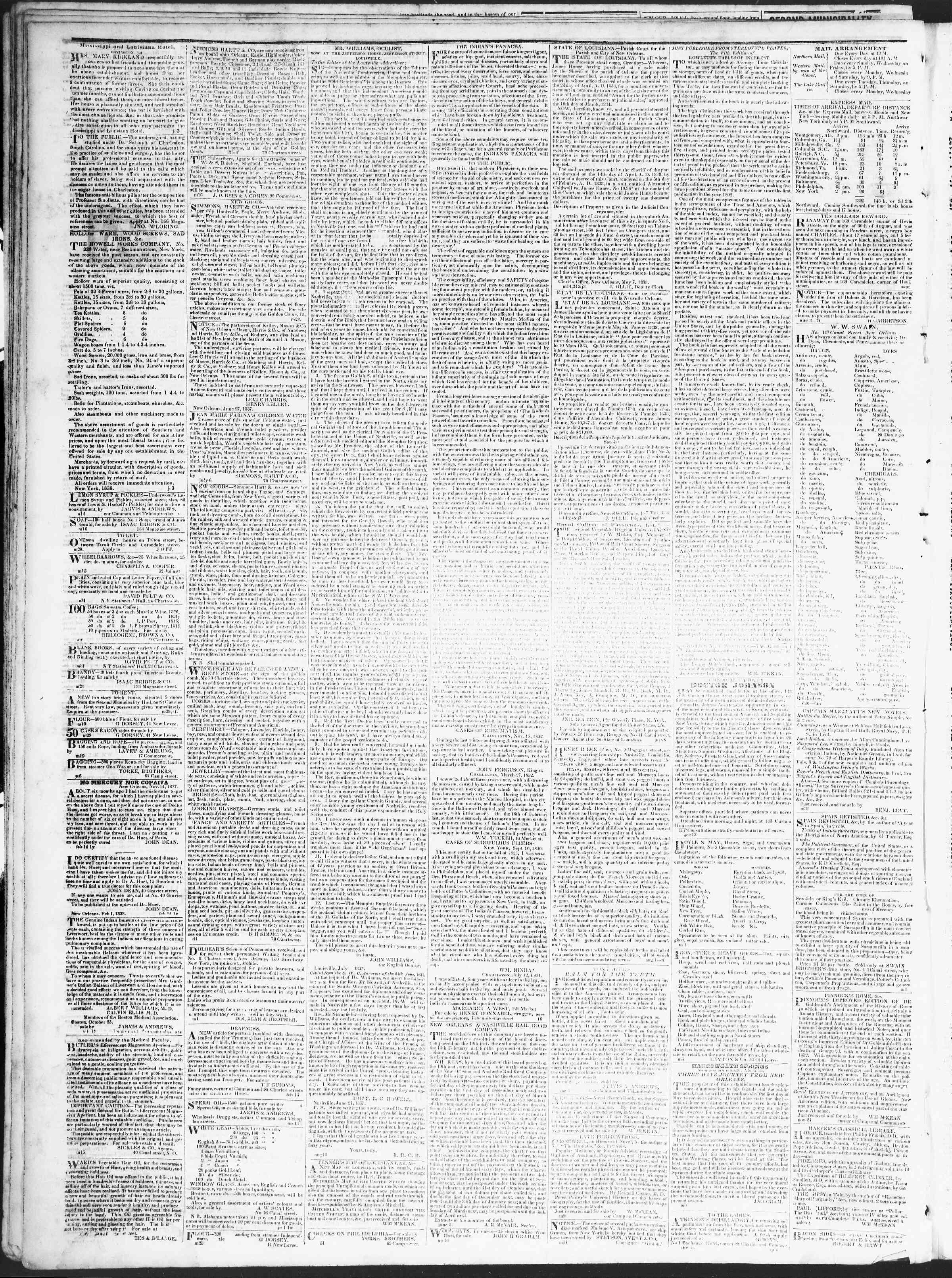 1 Eylül 1838 tarihli True American Gazetesi Sayfa 4