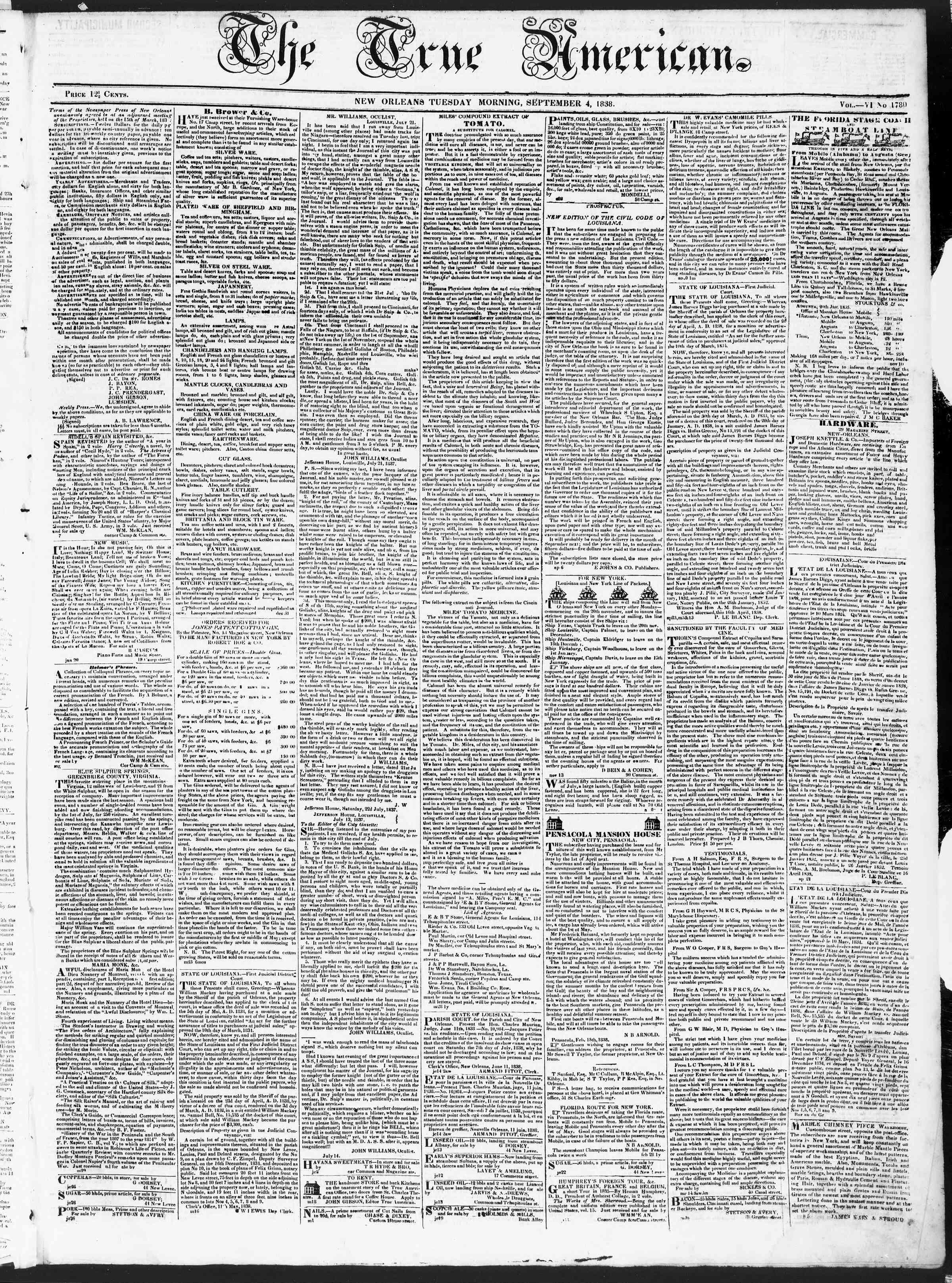 4 Eylül 1838 tarihli True American Gazetesi Sayfa 1