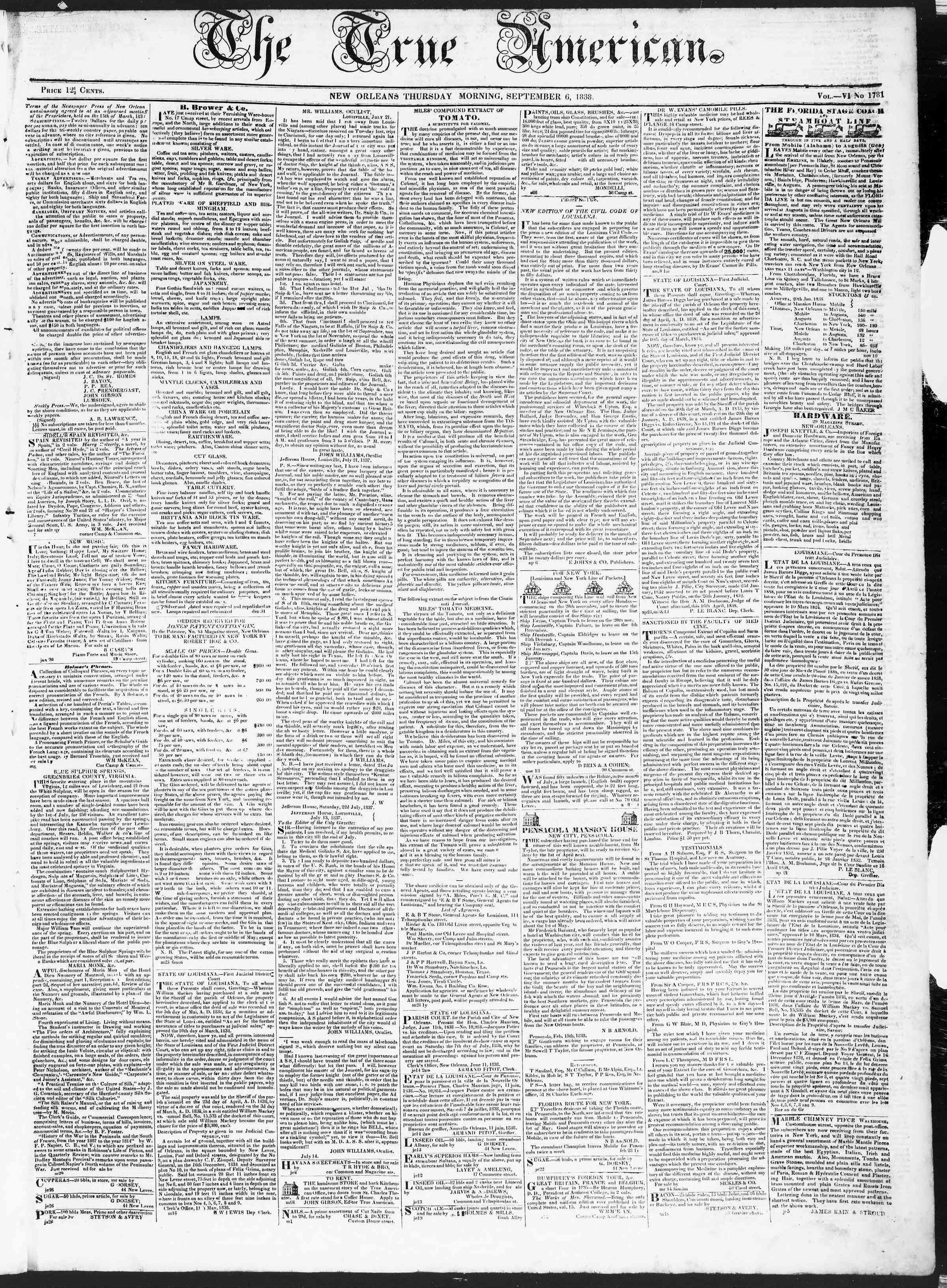 Newspaper of True American dated September 6, 1838 Page 1