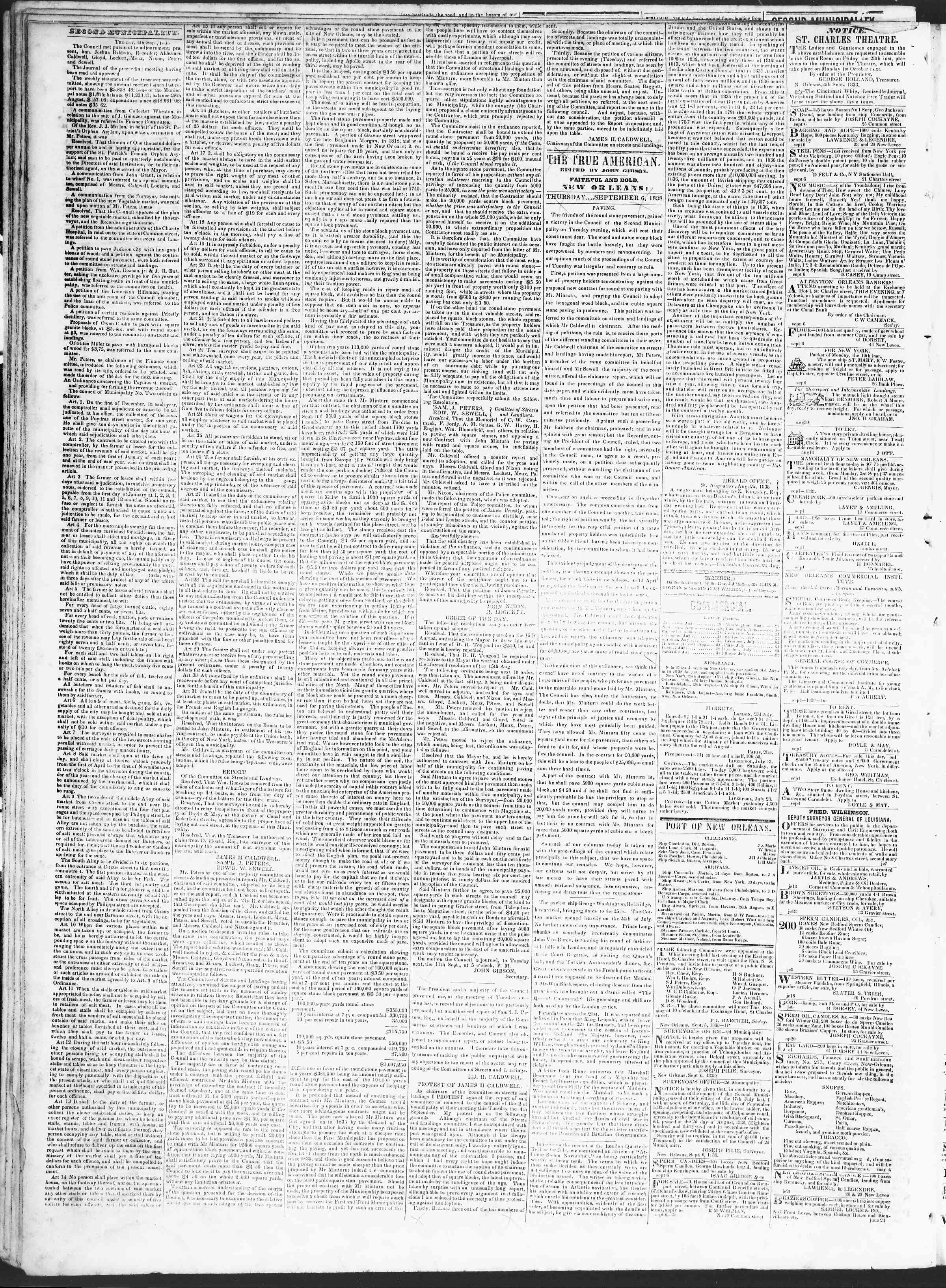 Newspaper of True American dated September 6, 1838 Page 2
