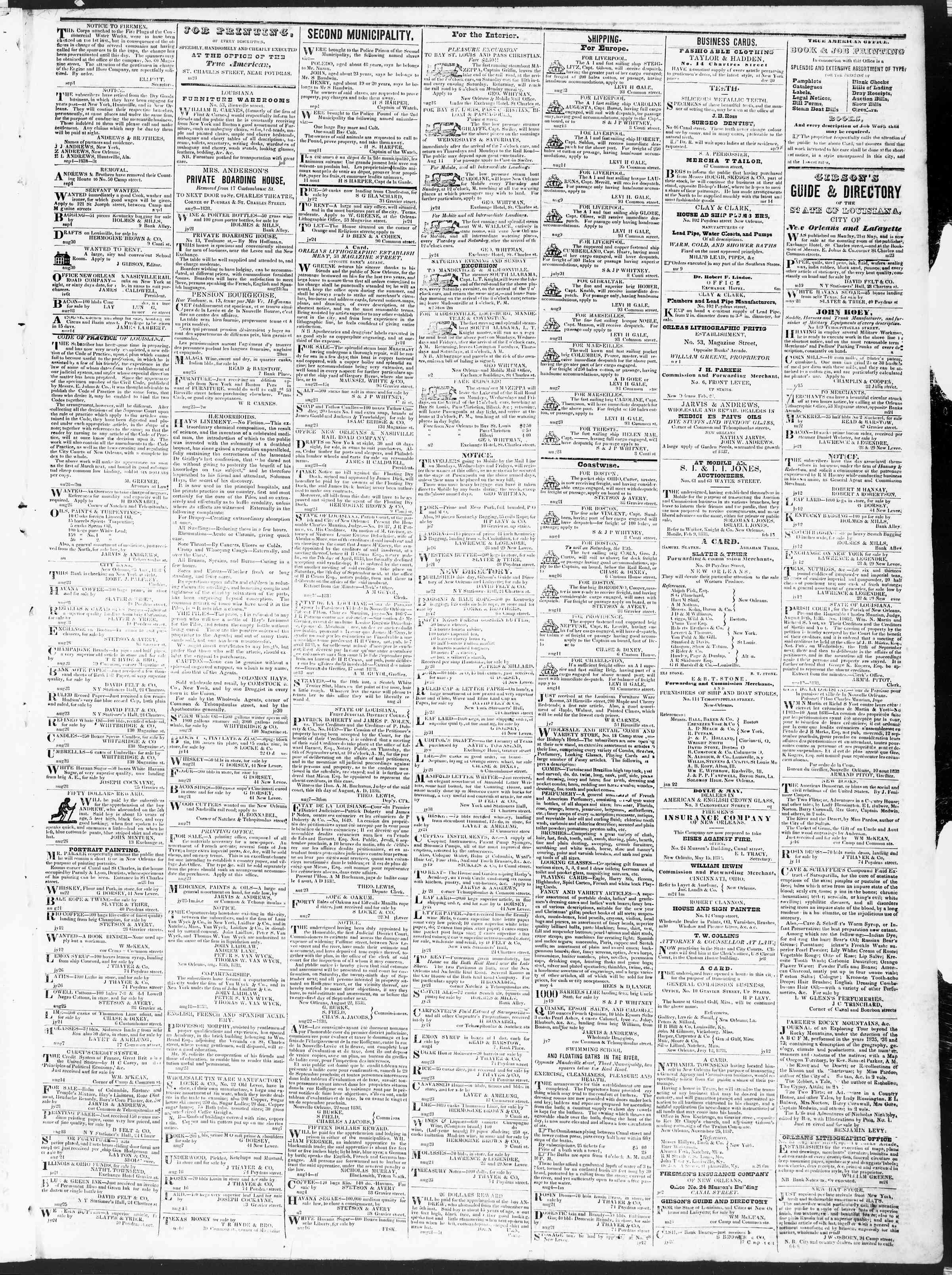 September 6, 1838 Tarihli True American Gazetesi Sayfa 3