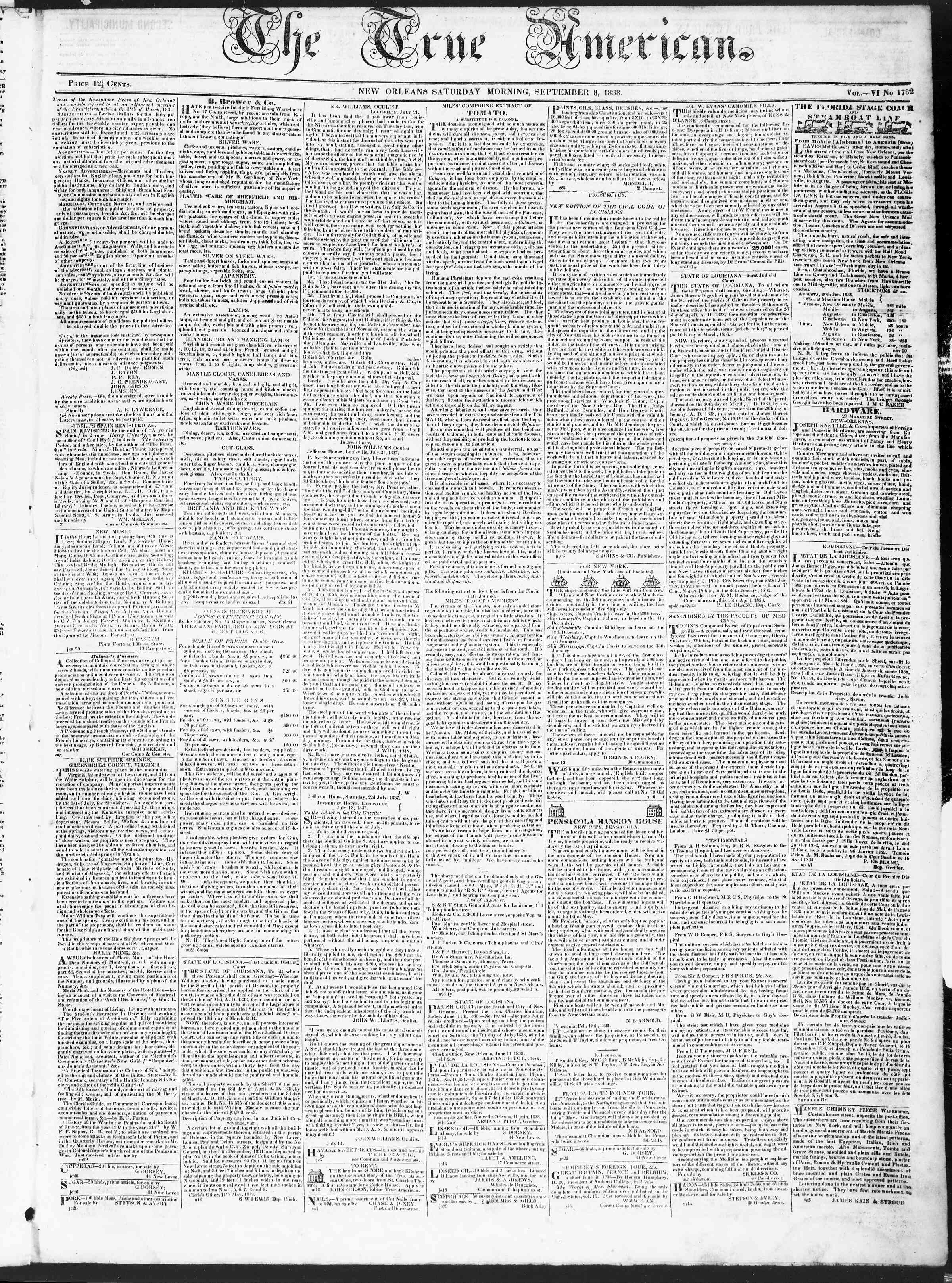 Newspaper of True American dated September 8, 1838 Page 1
