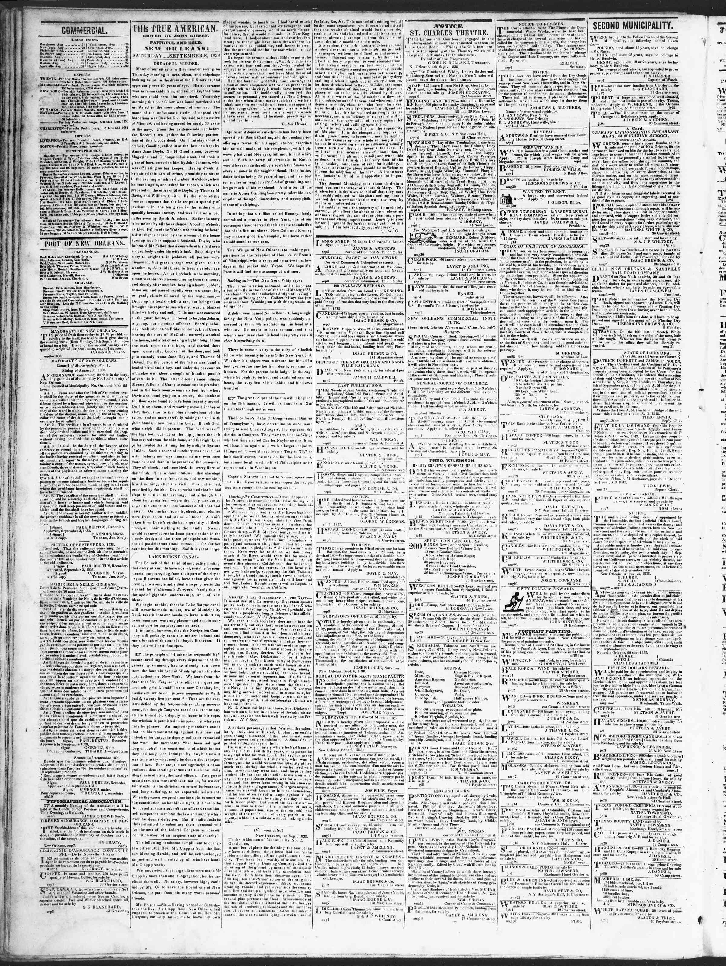 September 8, 1838 Tarihli True American Gazetesi Sayfa 2
