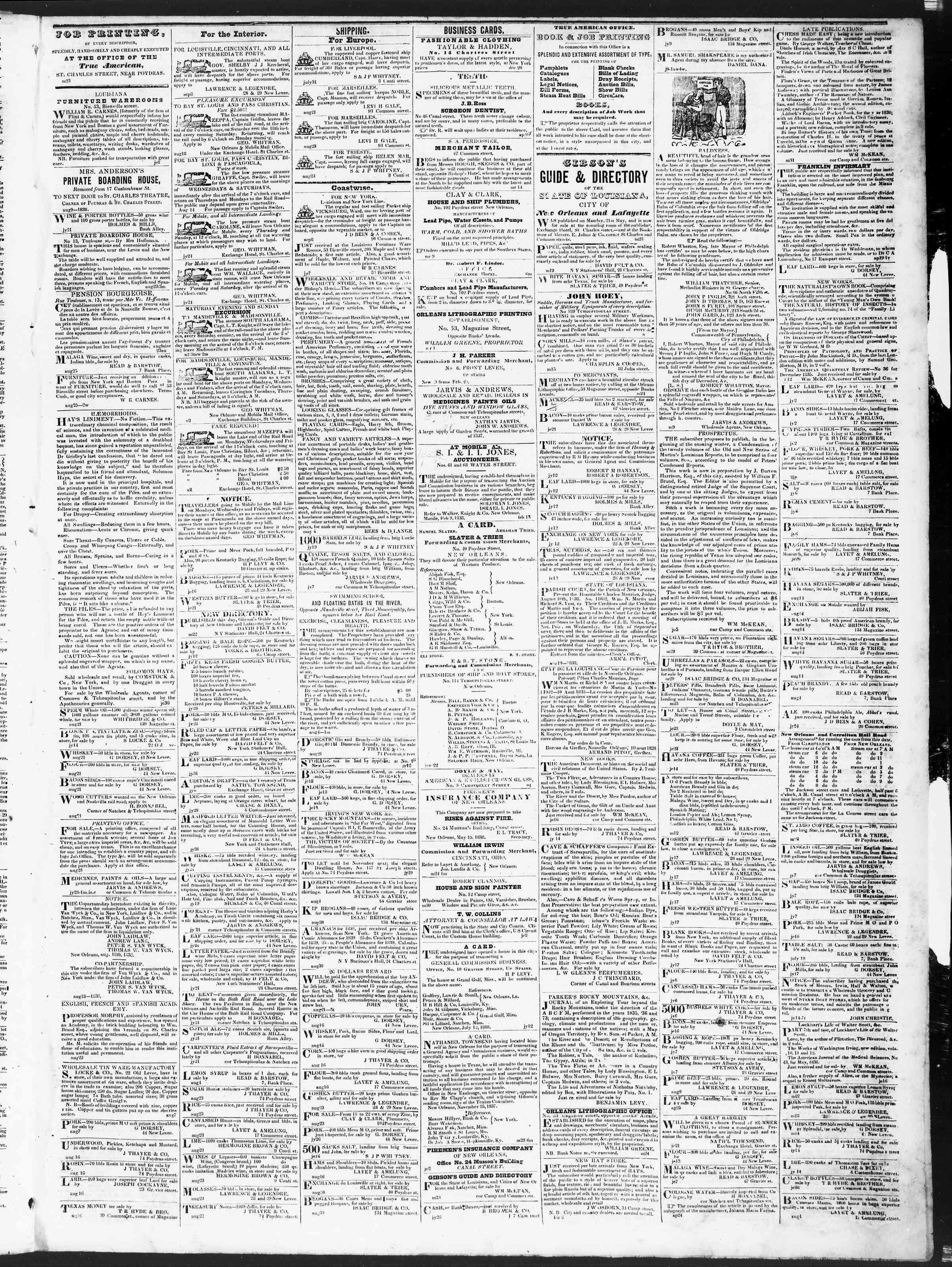 September 8, 1838 Tarihli True American Gazetesi Sayfa 3