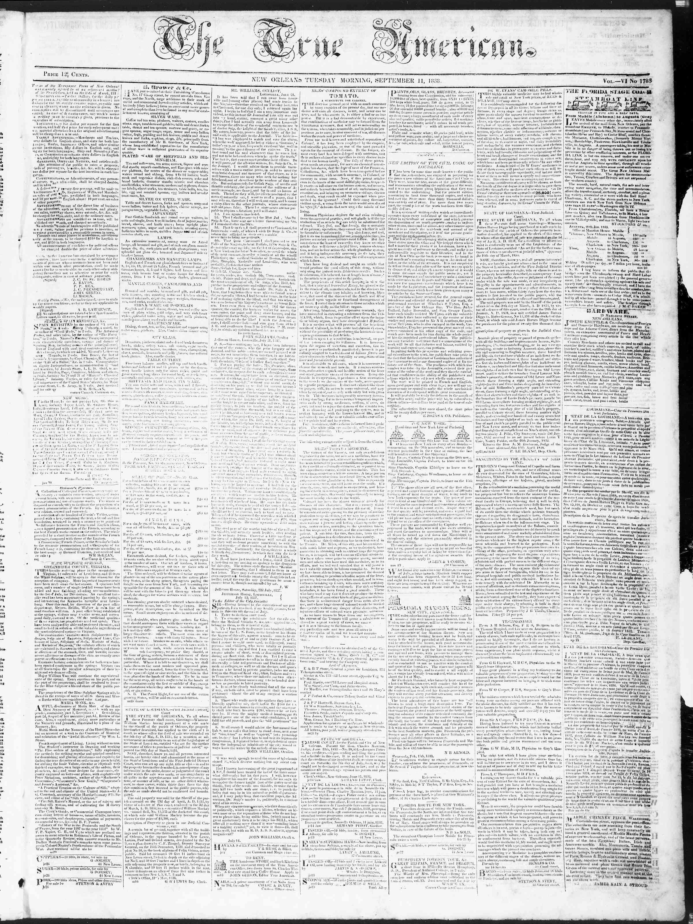 11 Eylül 1838 tarihli True American Gazetesi Sayfa 1