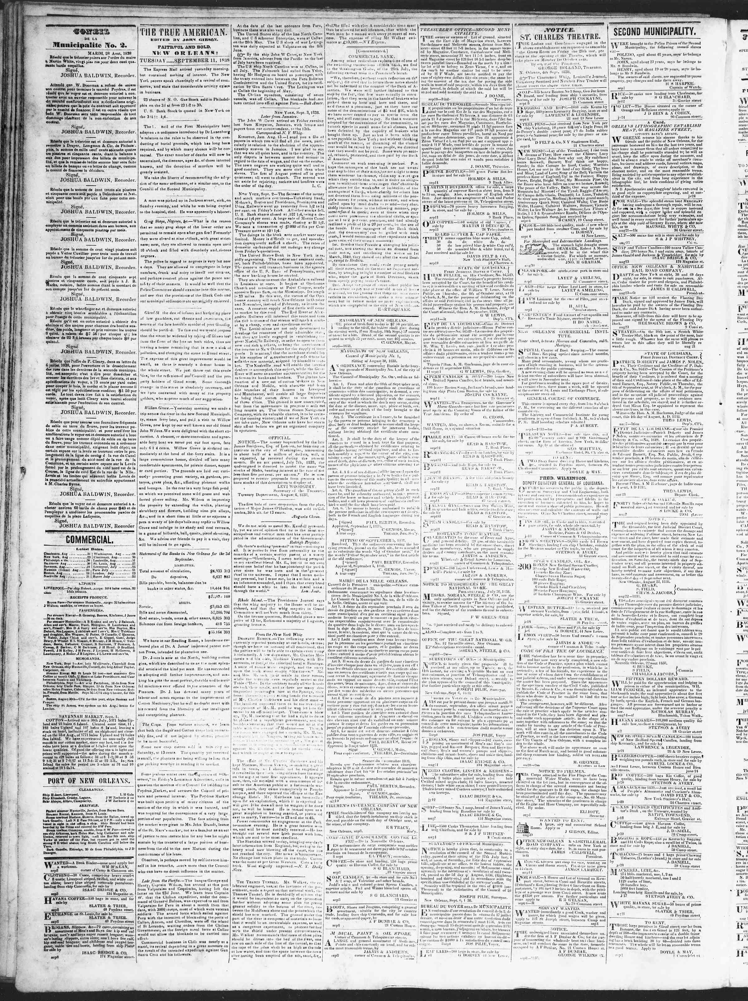 September 11, 1838 Tarihli True American Gazetesi Sayfa 2