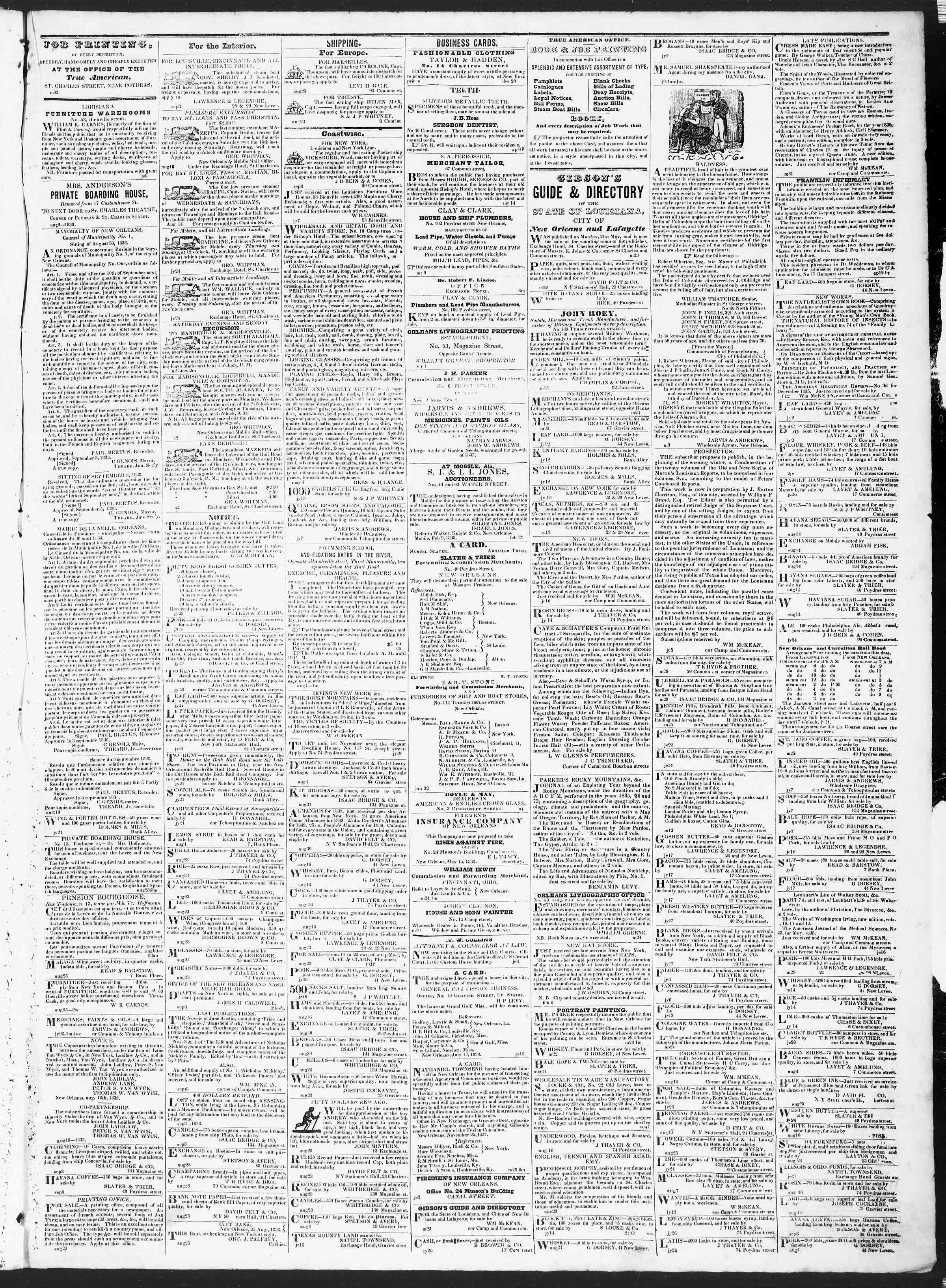 September 13, 1838 Tarihli True American Gazetesi Sayfa 3