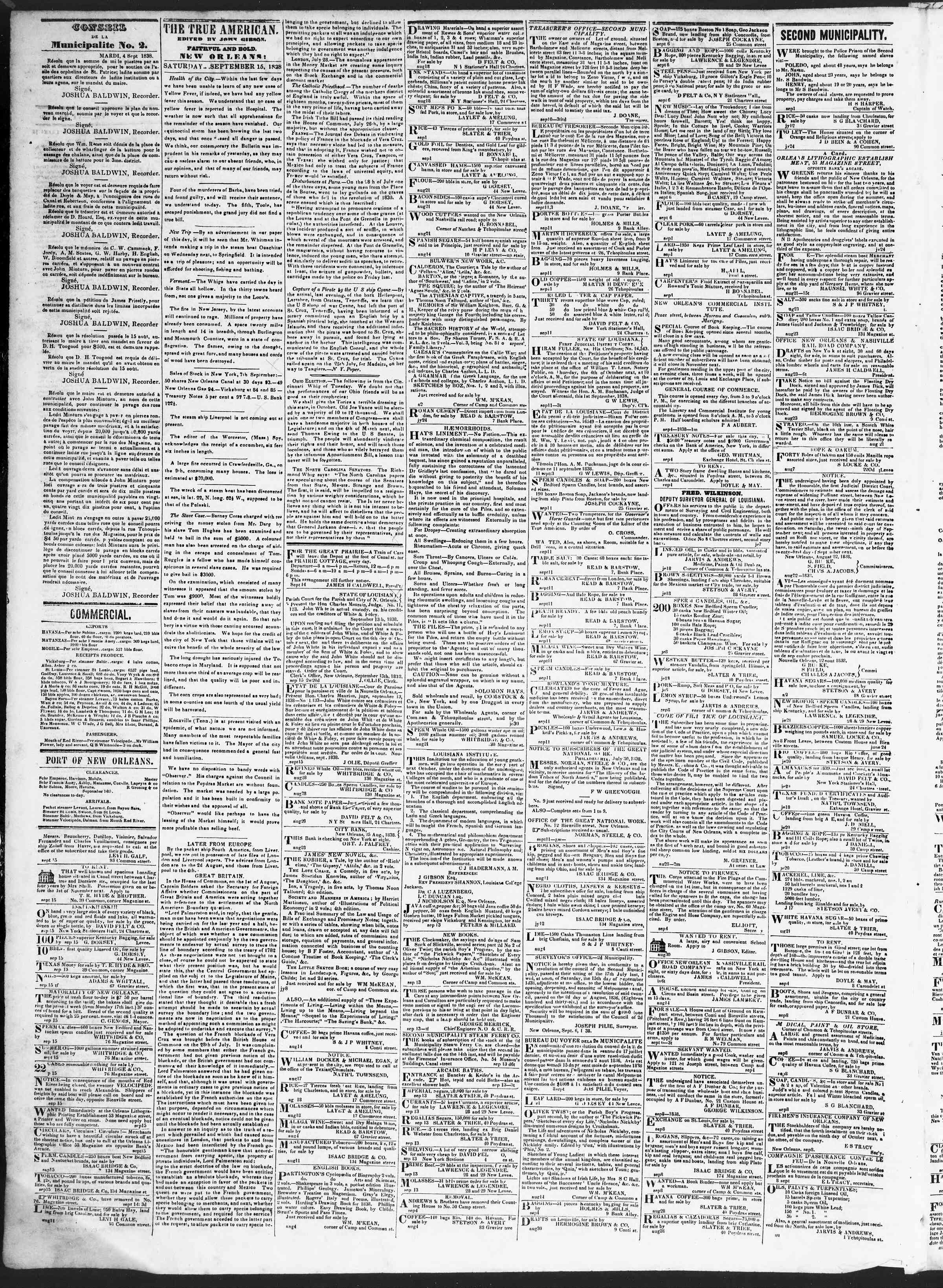 Newspaper of True American dated September 15, 1838 Page 2