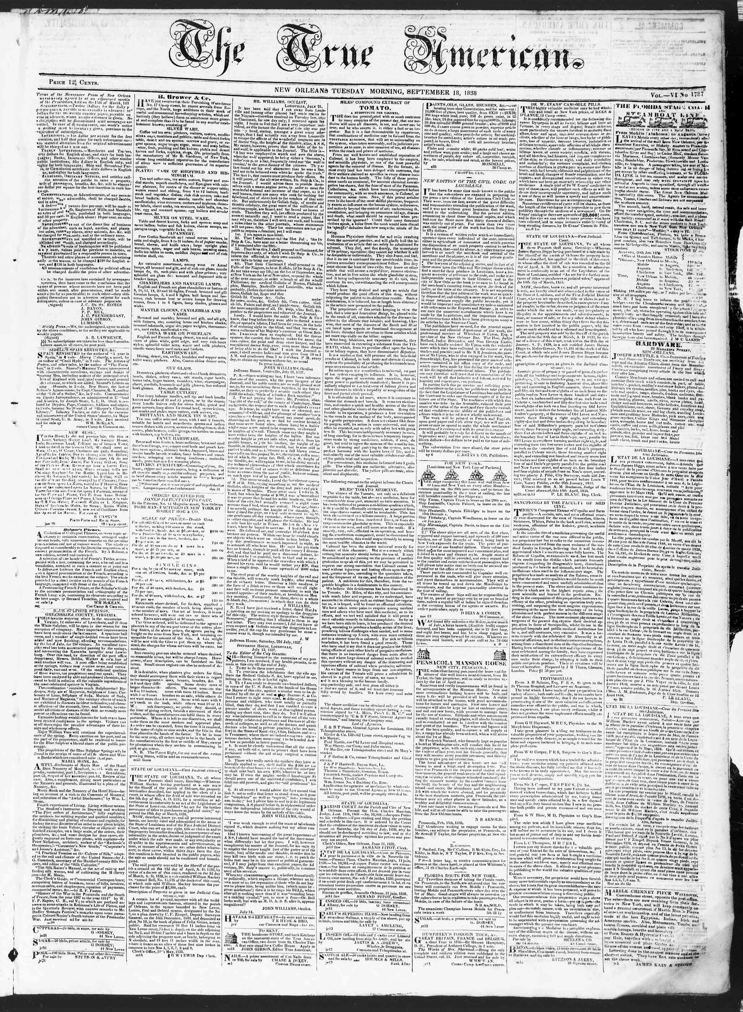 September 18, 1838 Tarihli True American Gazetesi Sayfa 1