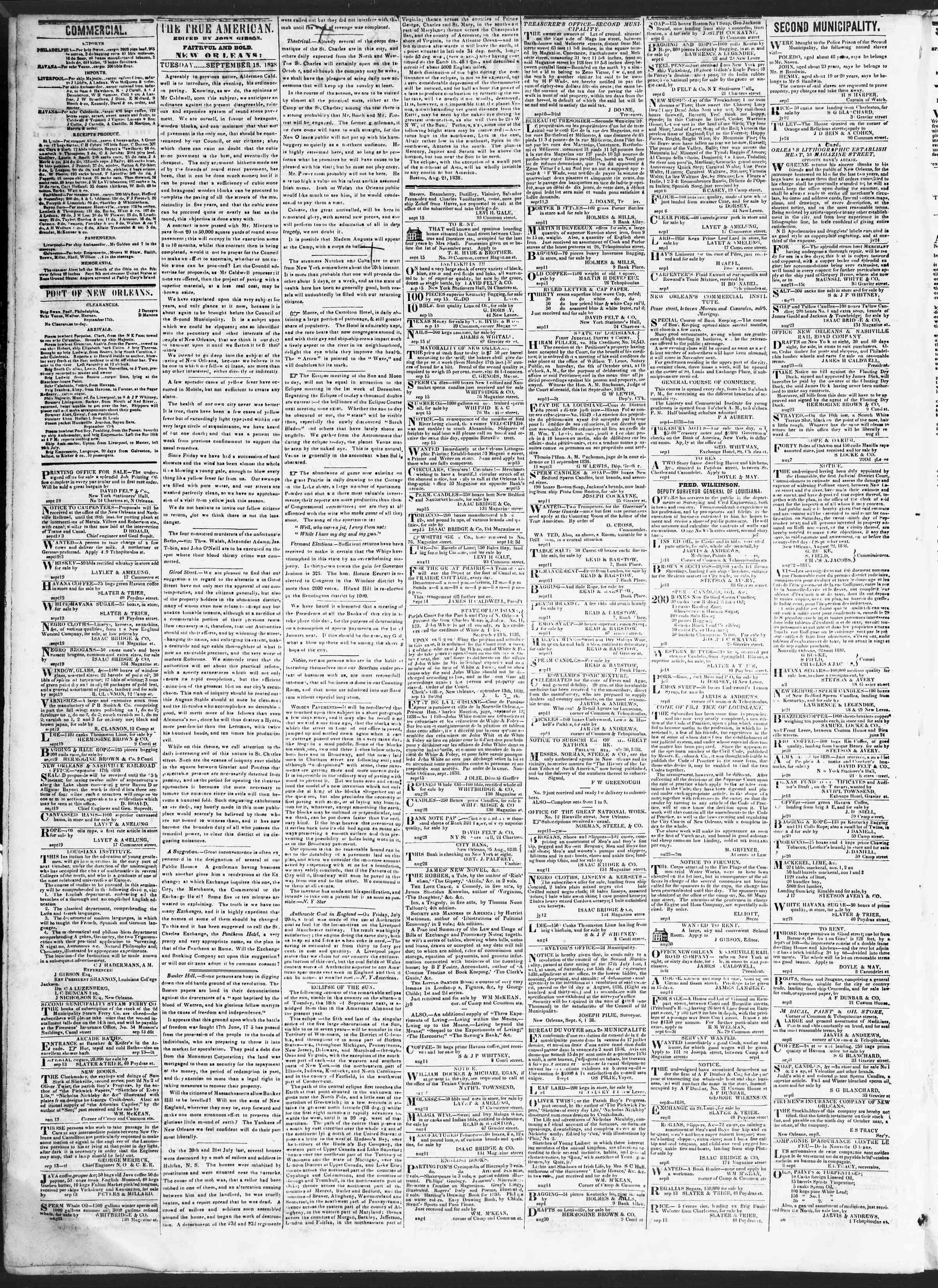 18 Eylül 1838 Tarihli True American Gazetesi Sayfa 2