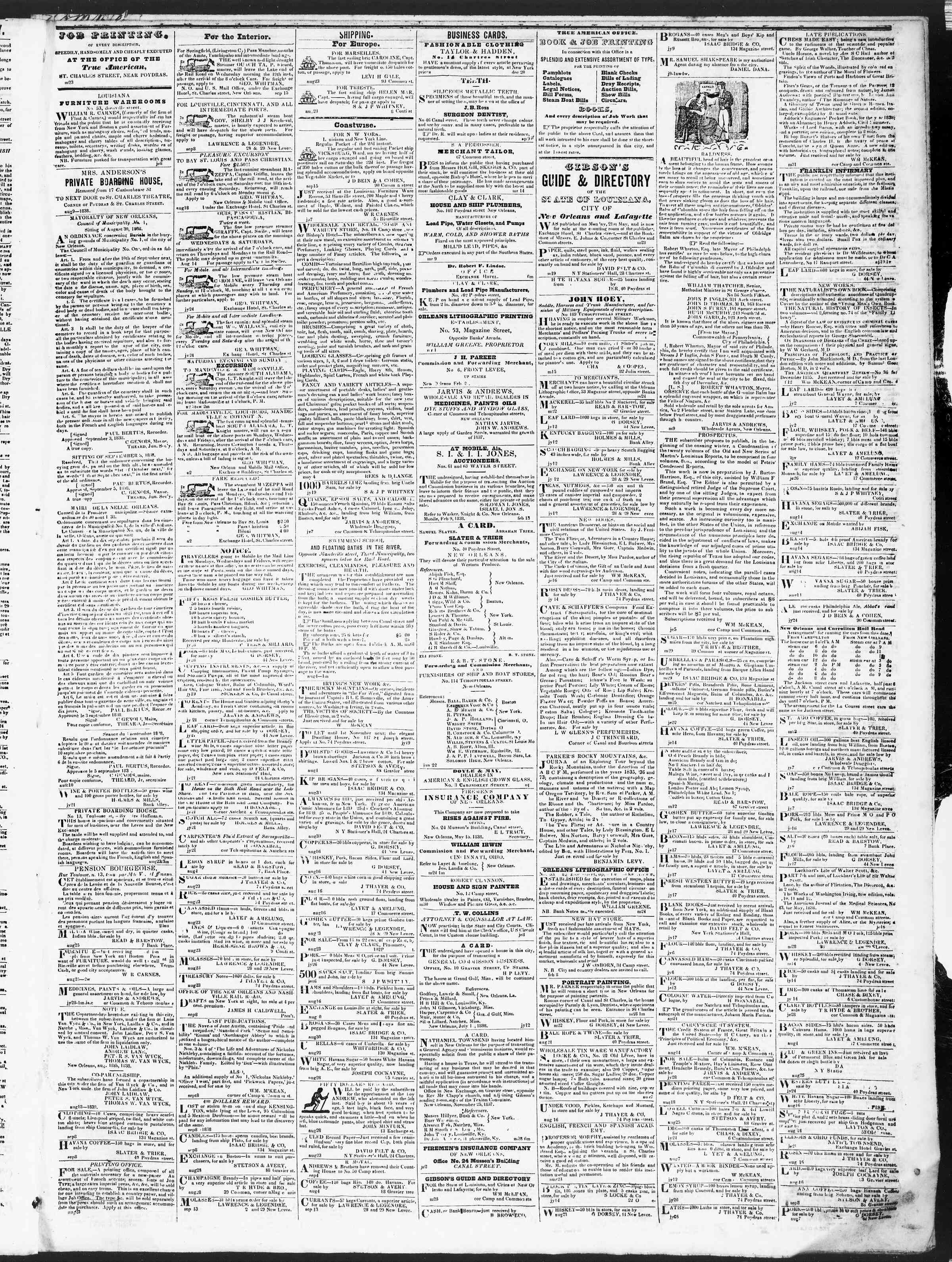 18 Eylül 1838 Tarihli True American Gazetesi Sayfa 3