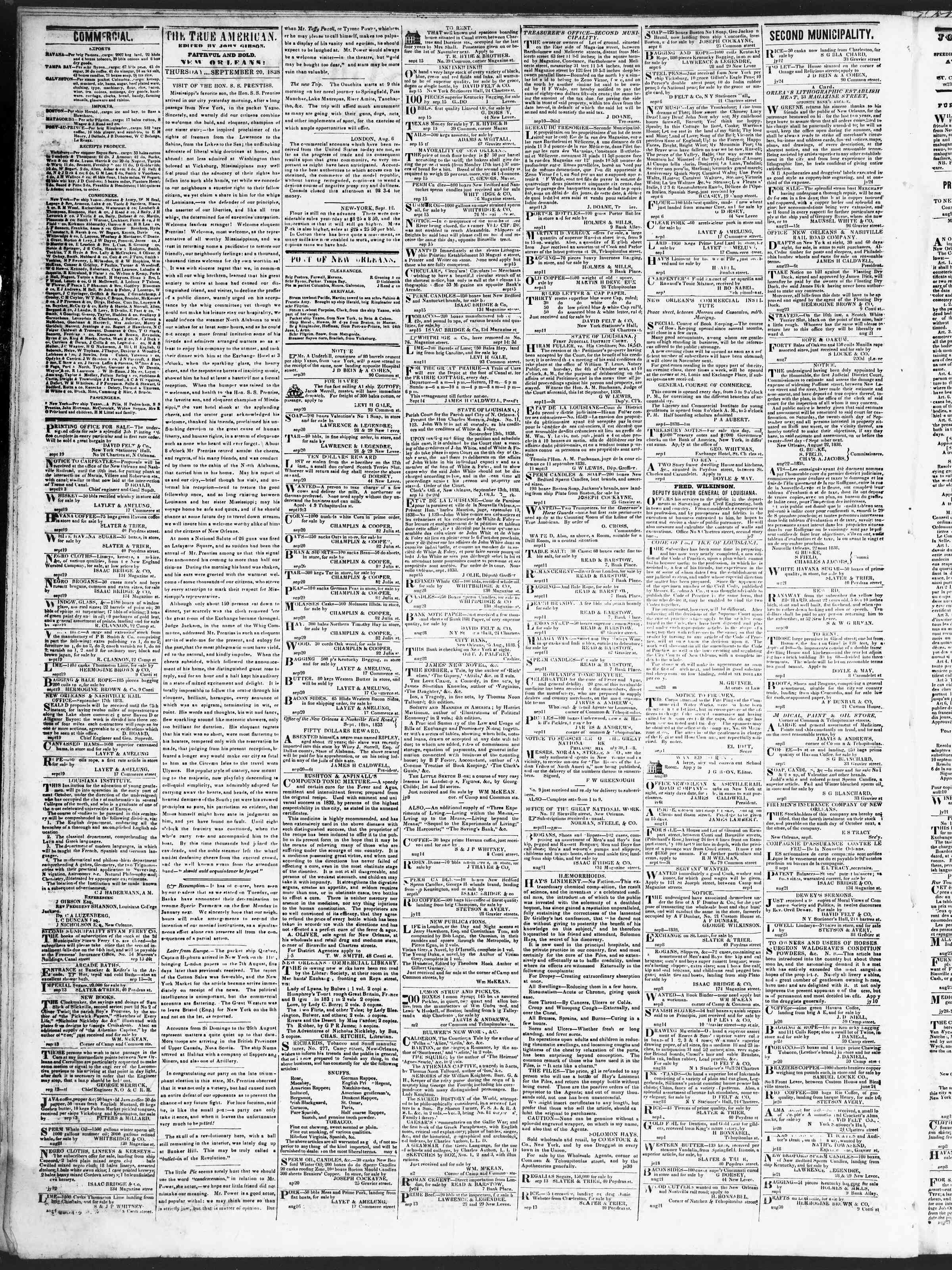 September 20, 1838 Tarihli True American Gazetesi Sayfa 2