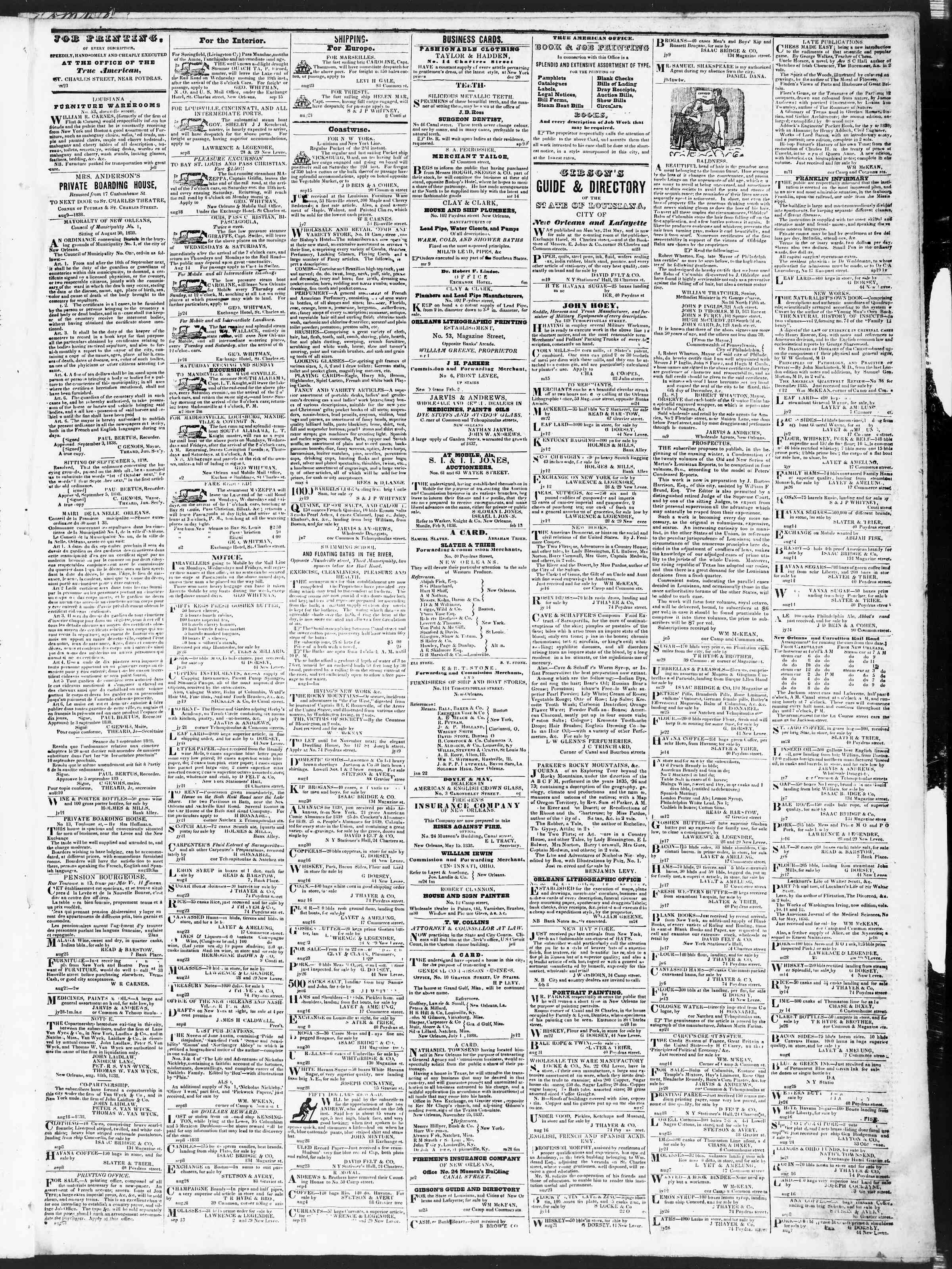 September 20, 1838 Tarihli True American Gazetesi Sayfa 3