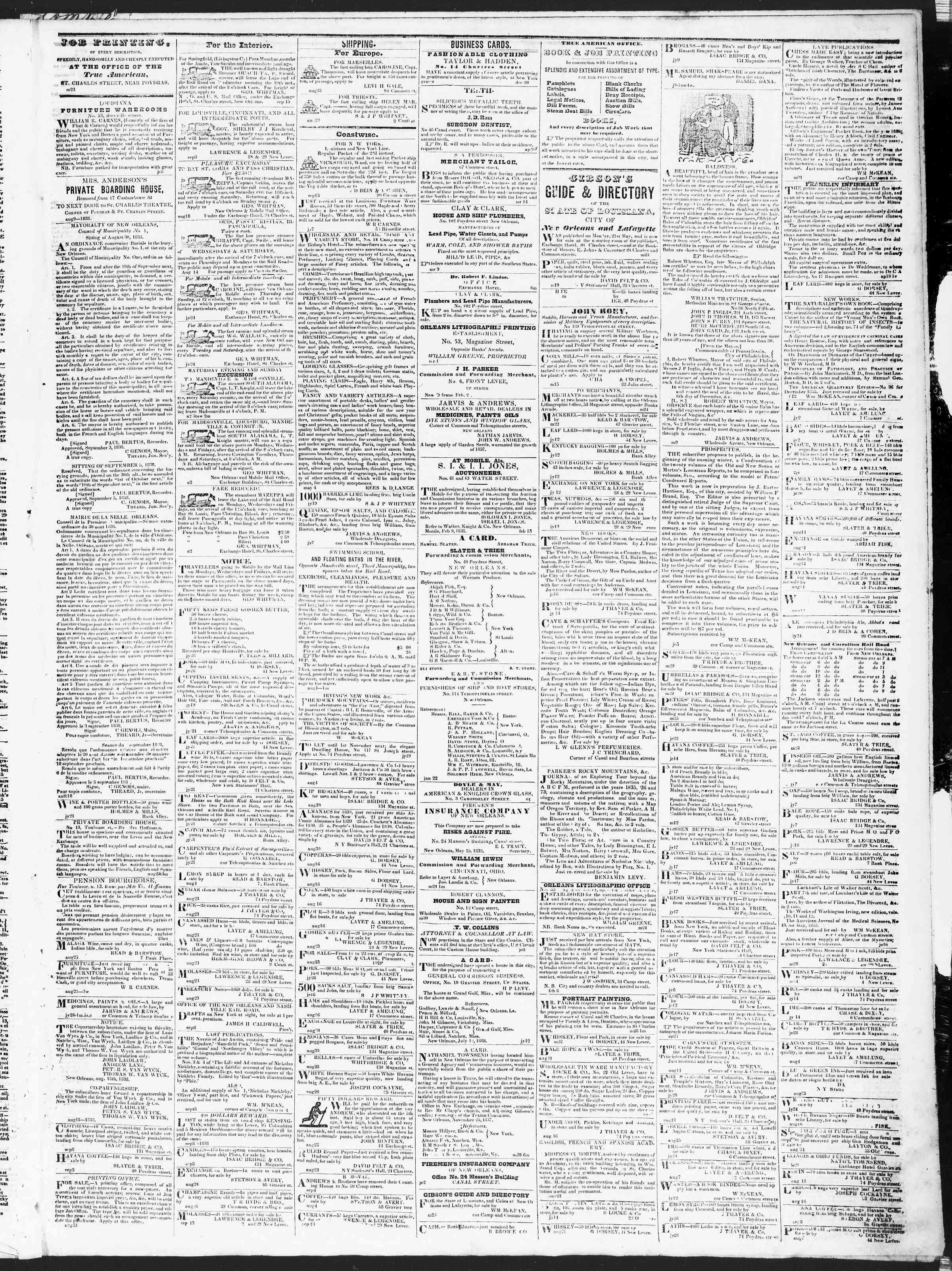 September 22, 1838 Tarihli True American Gazetesi Sayfa 3
