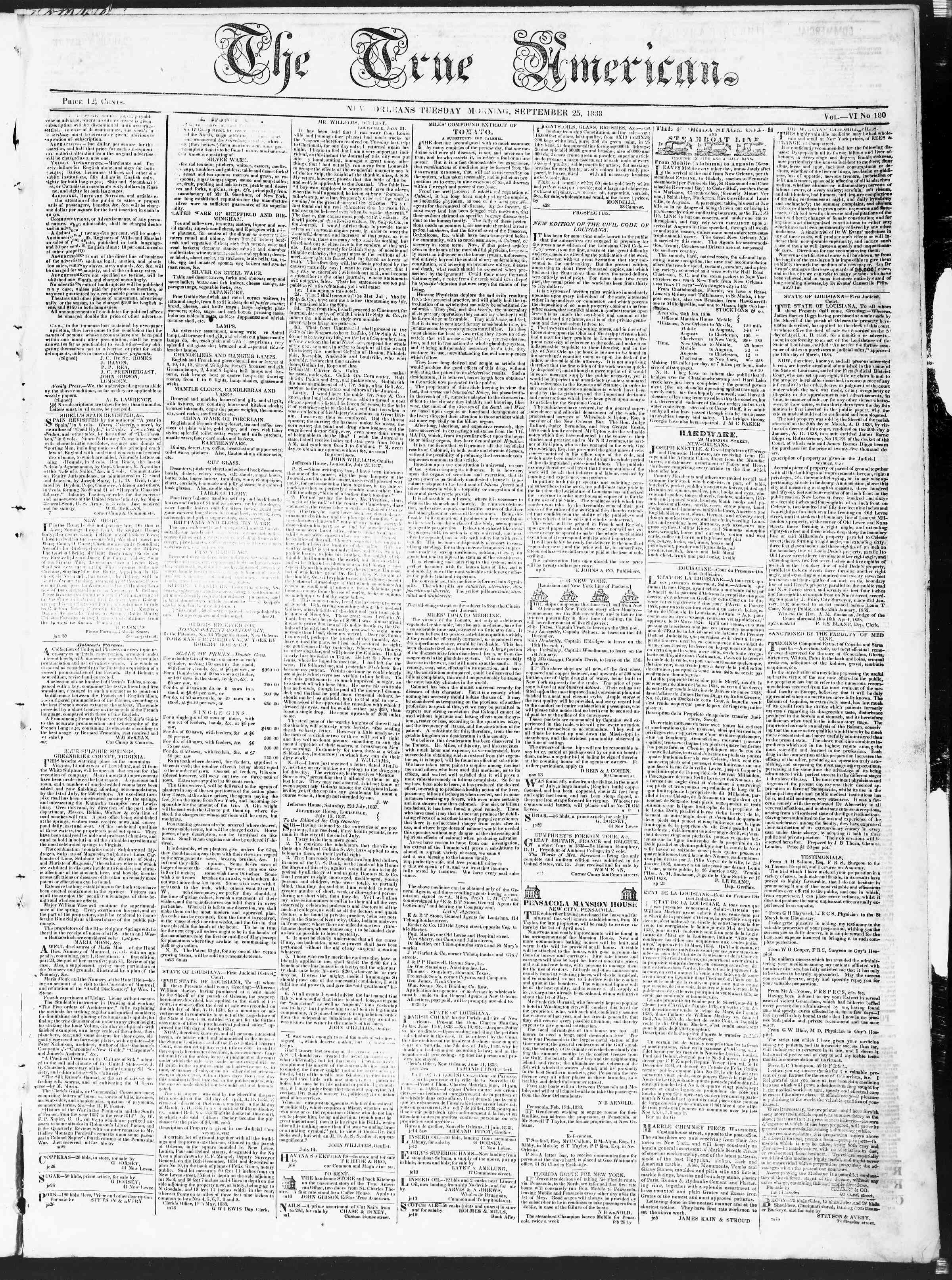 September 25, 1838 Tarihli True American Gazetesi Sayfa 1