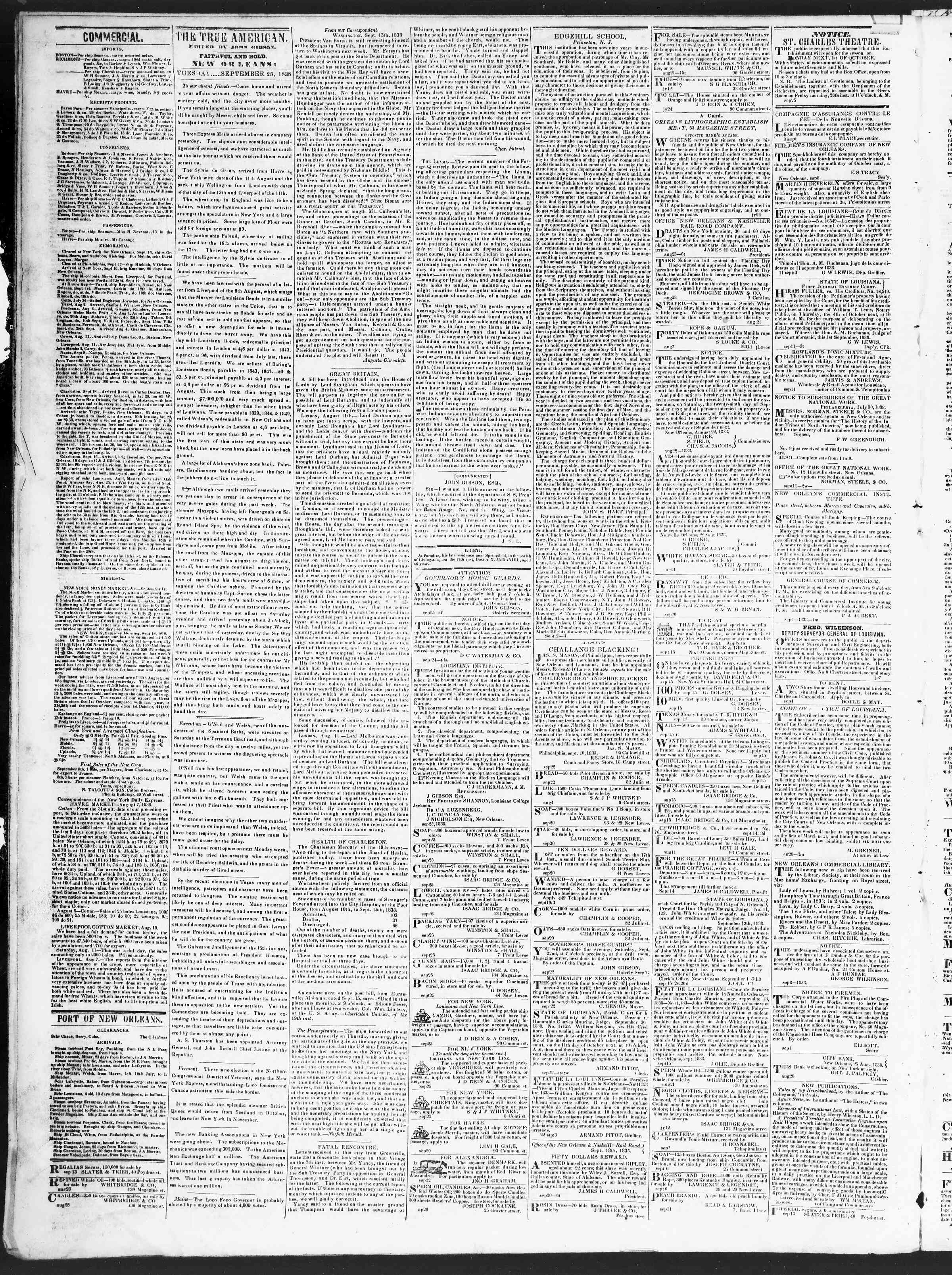 September 25, 1838 Tarihli True American Gazetesi Sayfa 2
