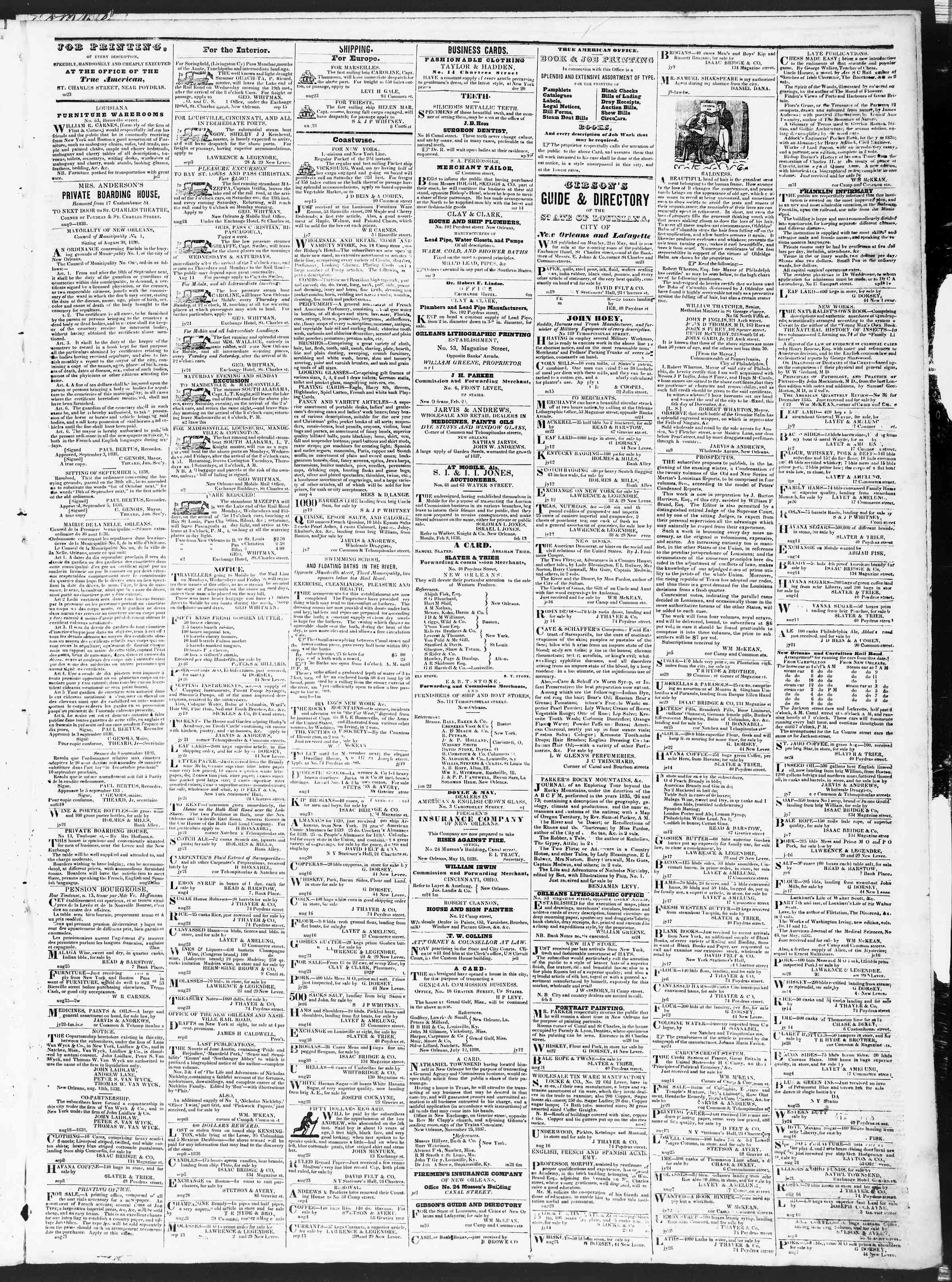 Newspaper of True American dated September 25, 1838 Page 3