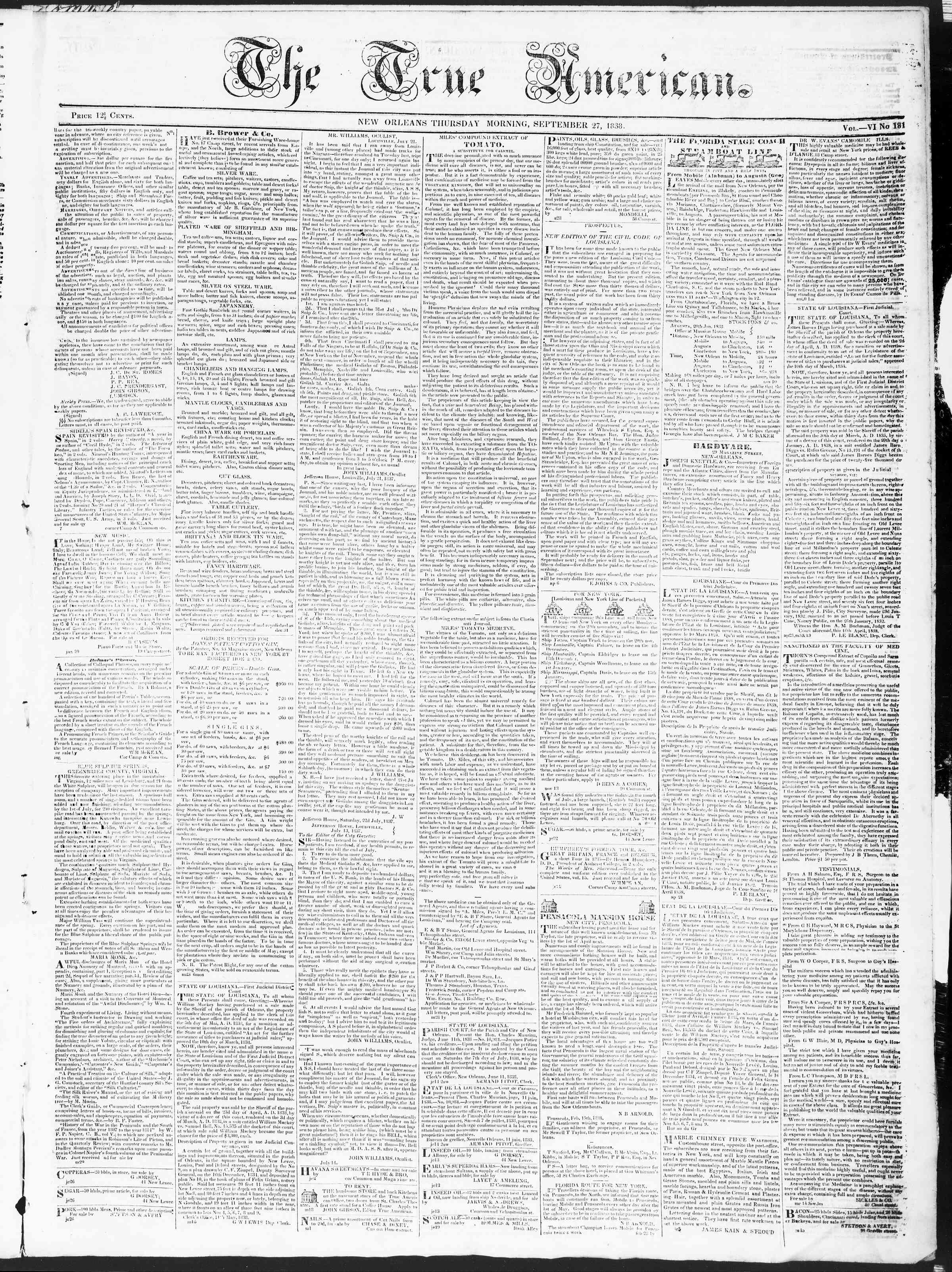 Newspaper of True American dated September 27, 1838 Page 1