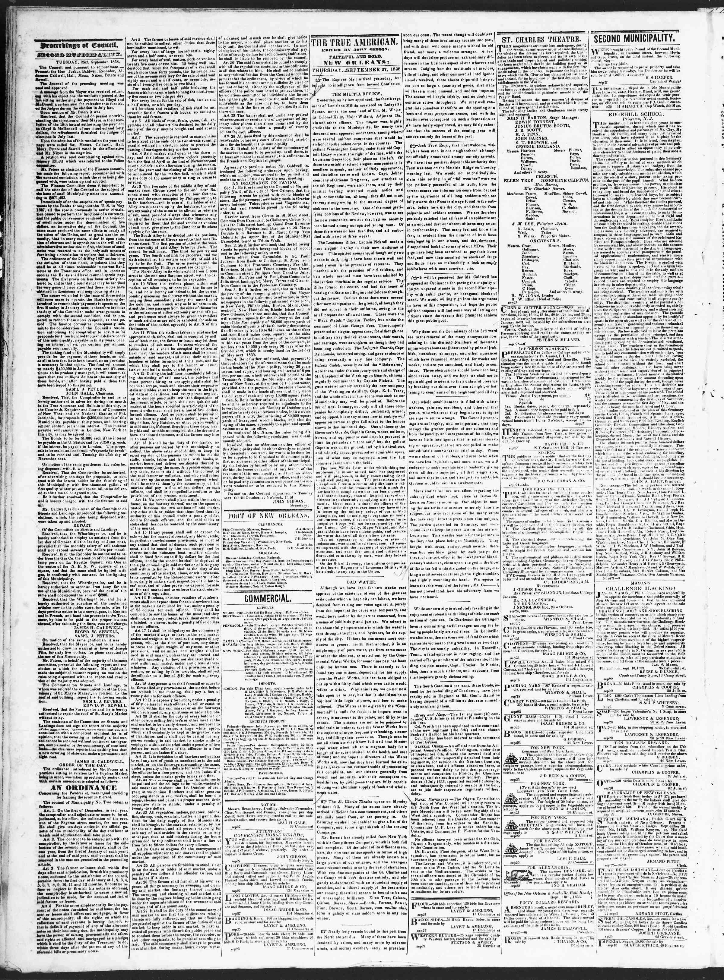 September 27, 1838 Tarihli True American Gazetesi Sayfa 2