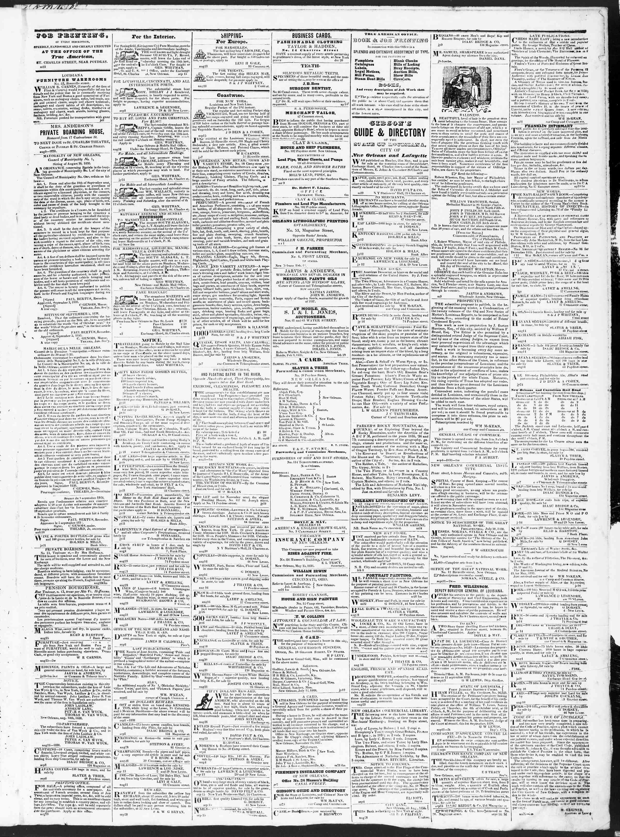 September 27, 1838 Tarihli True American Gazetesi Sayfa 3
