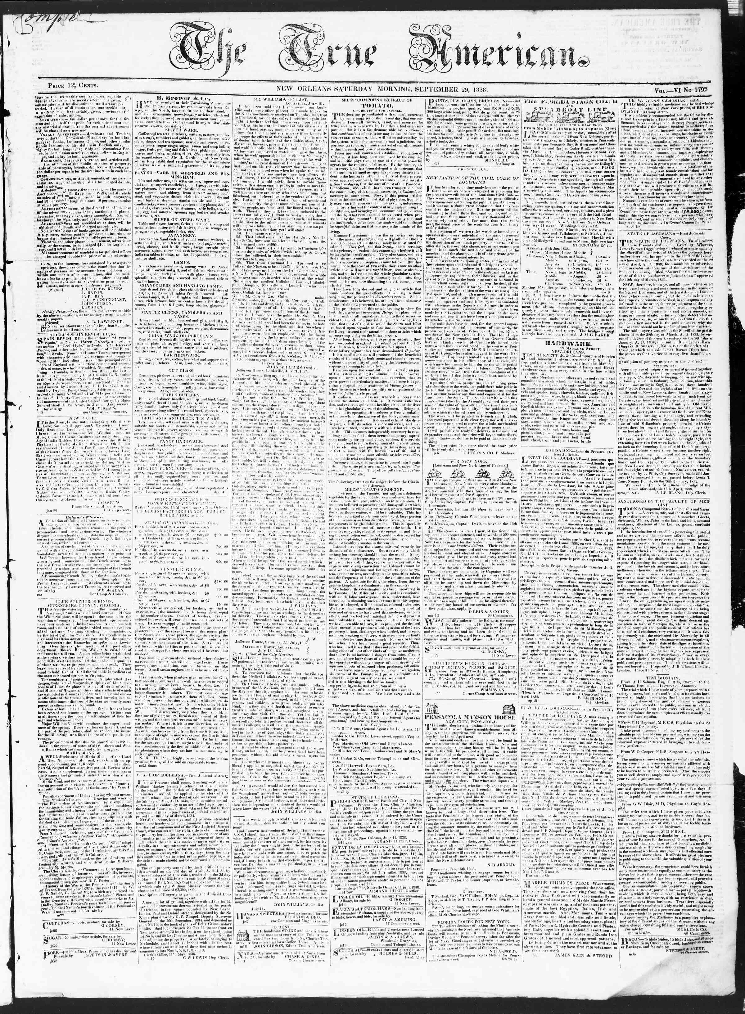 September 29, 1838 Tarihli True American Gazetesi Sayfa 1