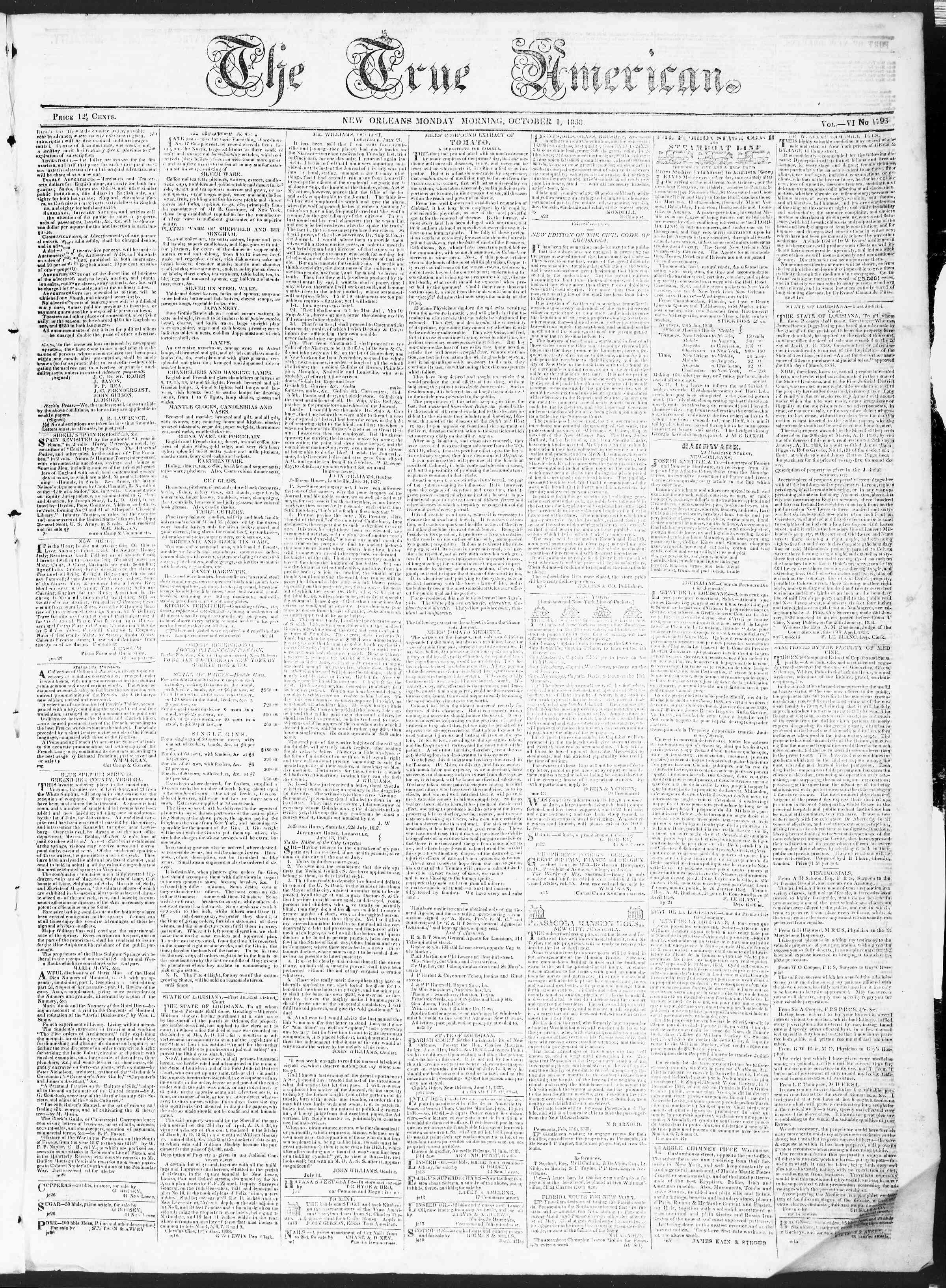 October 1, 1838 Tarihli True American Gazetesi Sayfa 1