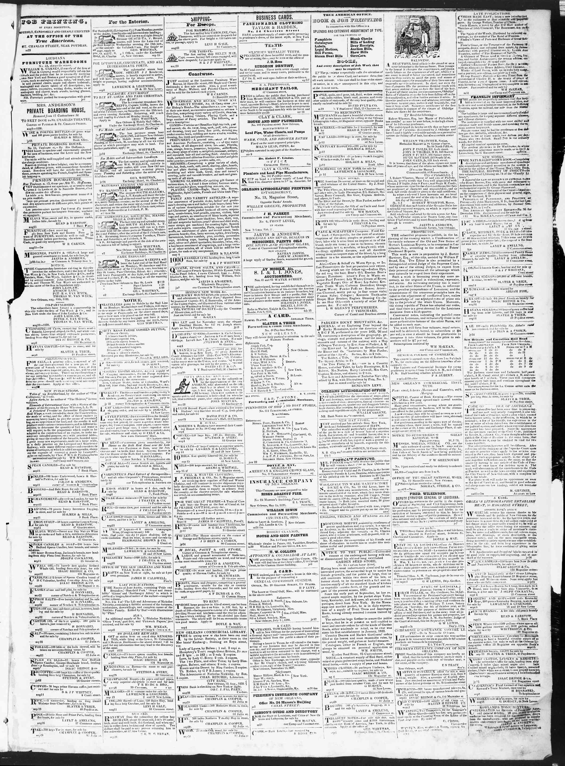 October 1, 1838 Tarihli True American Gazetesi Sayfa 3
