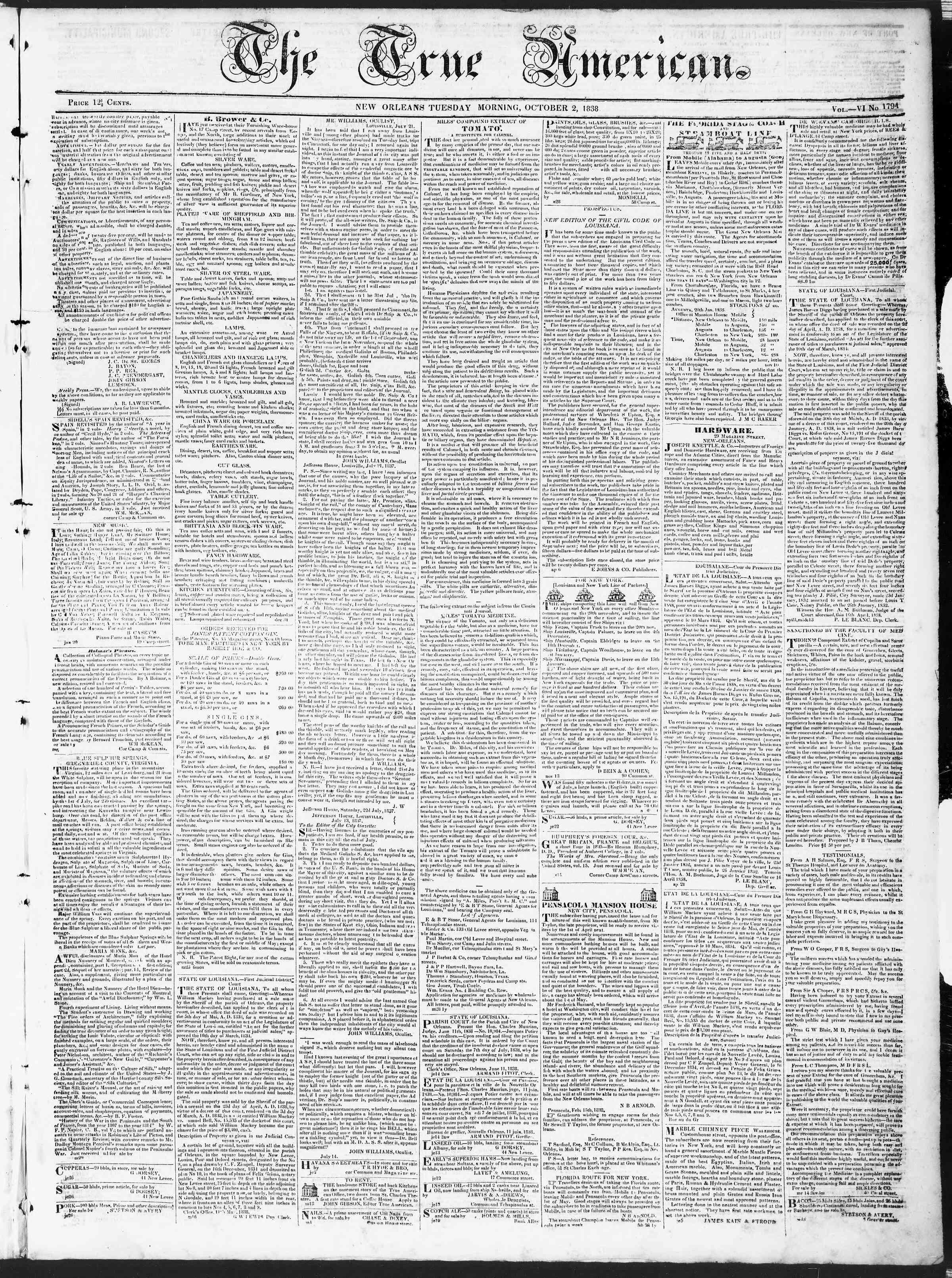 October 2, 1838 Tarihli True American Gazetesi Sayfa 1